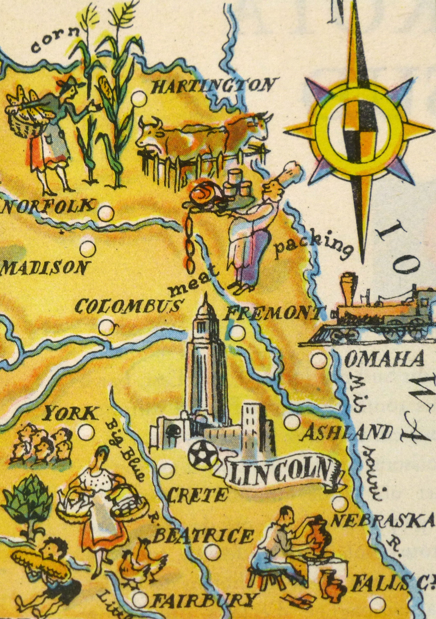 Nebraska Pictorial Map, 1946-detail-6256K