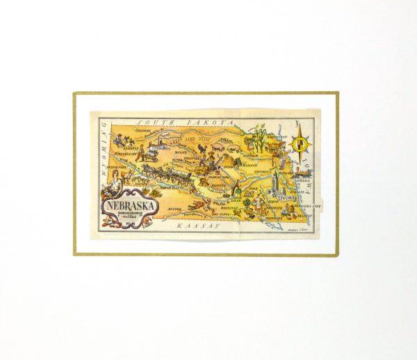 Nebraska Pictorial Map, 1946-matted-6256K