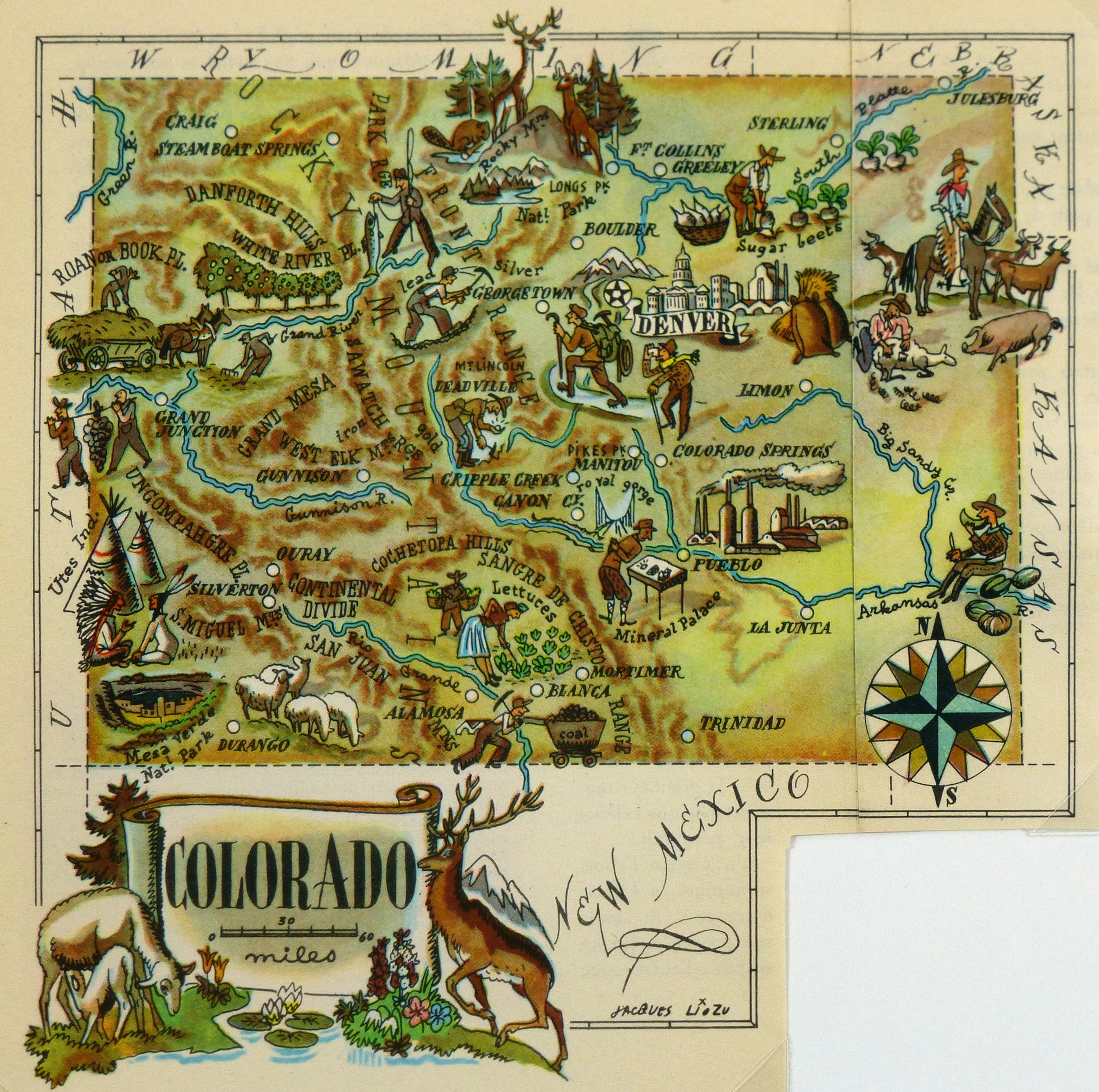 Colorado Usa Map: Colorado Pictorial Map, 1946