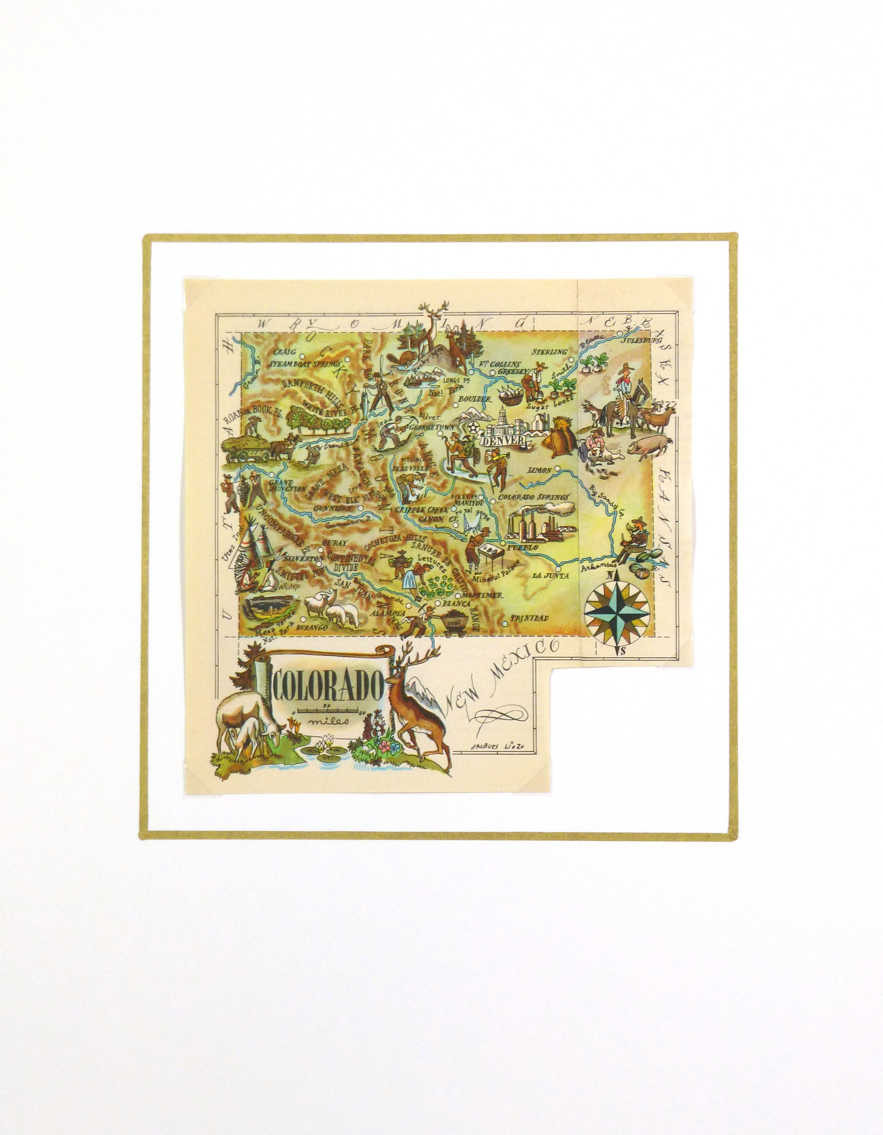 Pictorial Map - Colorado, 1946-matted-6257K