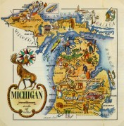 Michigan Pictorial Map, 1946-main-6258K