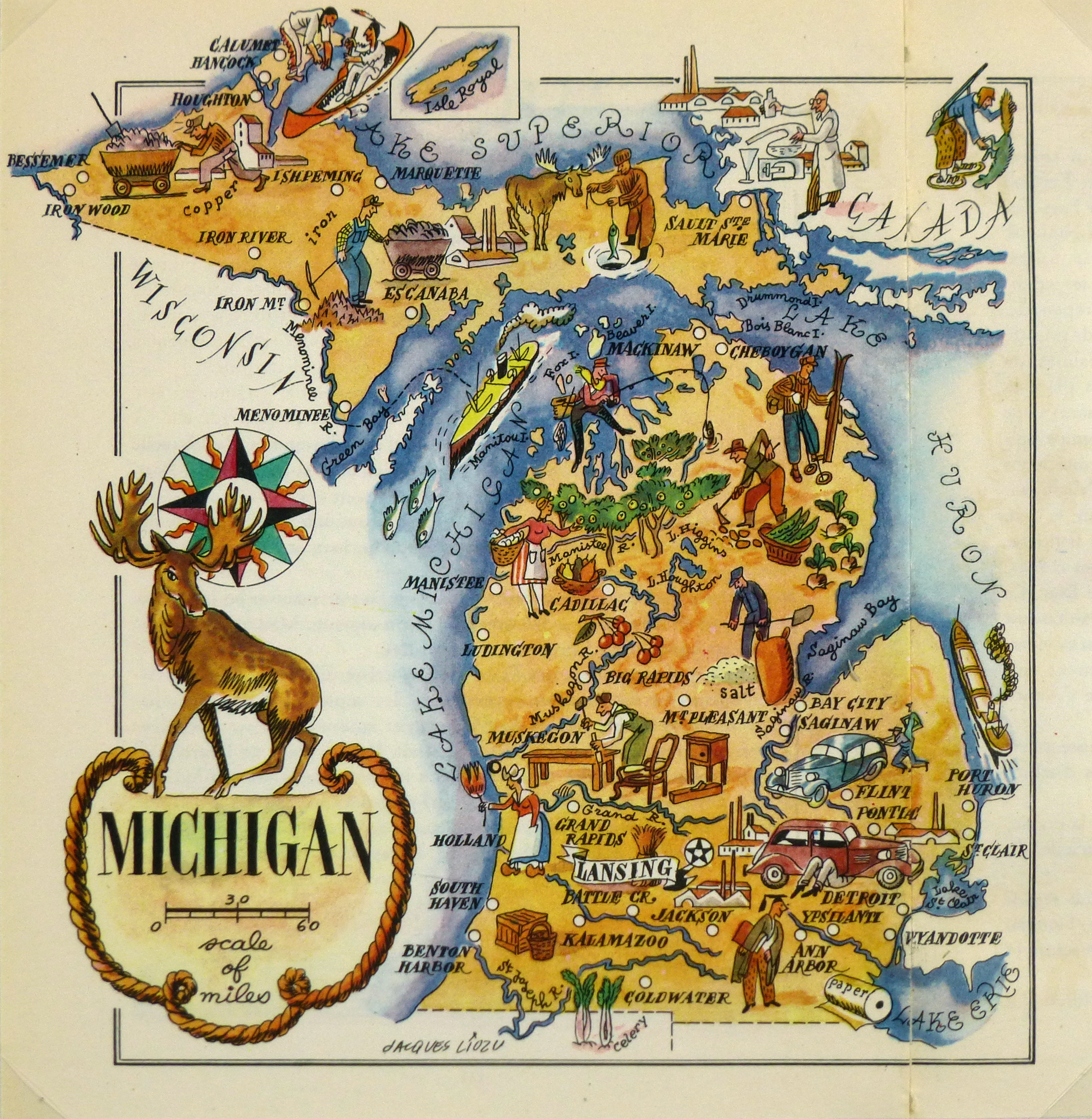 Michigan Pictorial Map 1946