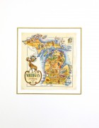 Michigan Pictorial Map, 1946-matted-6258K