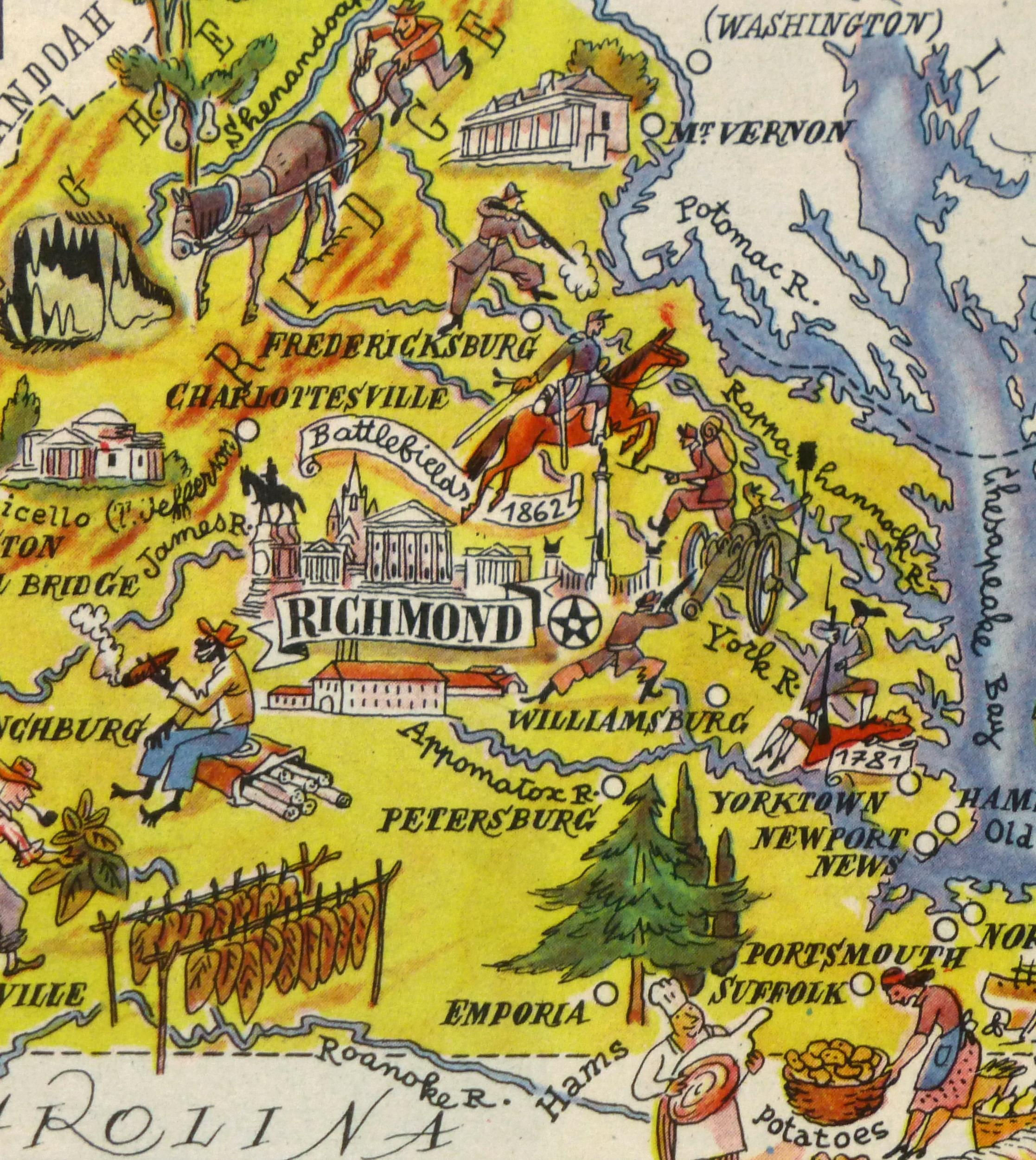 Virginia Pictorial Map, 1946-detail-6259K