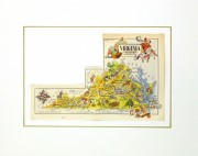 Virginia Pictorial Map, 1946-matted-6259K