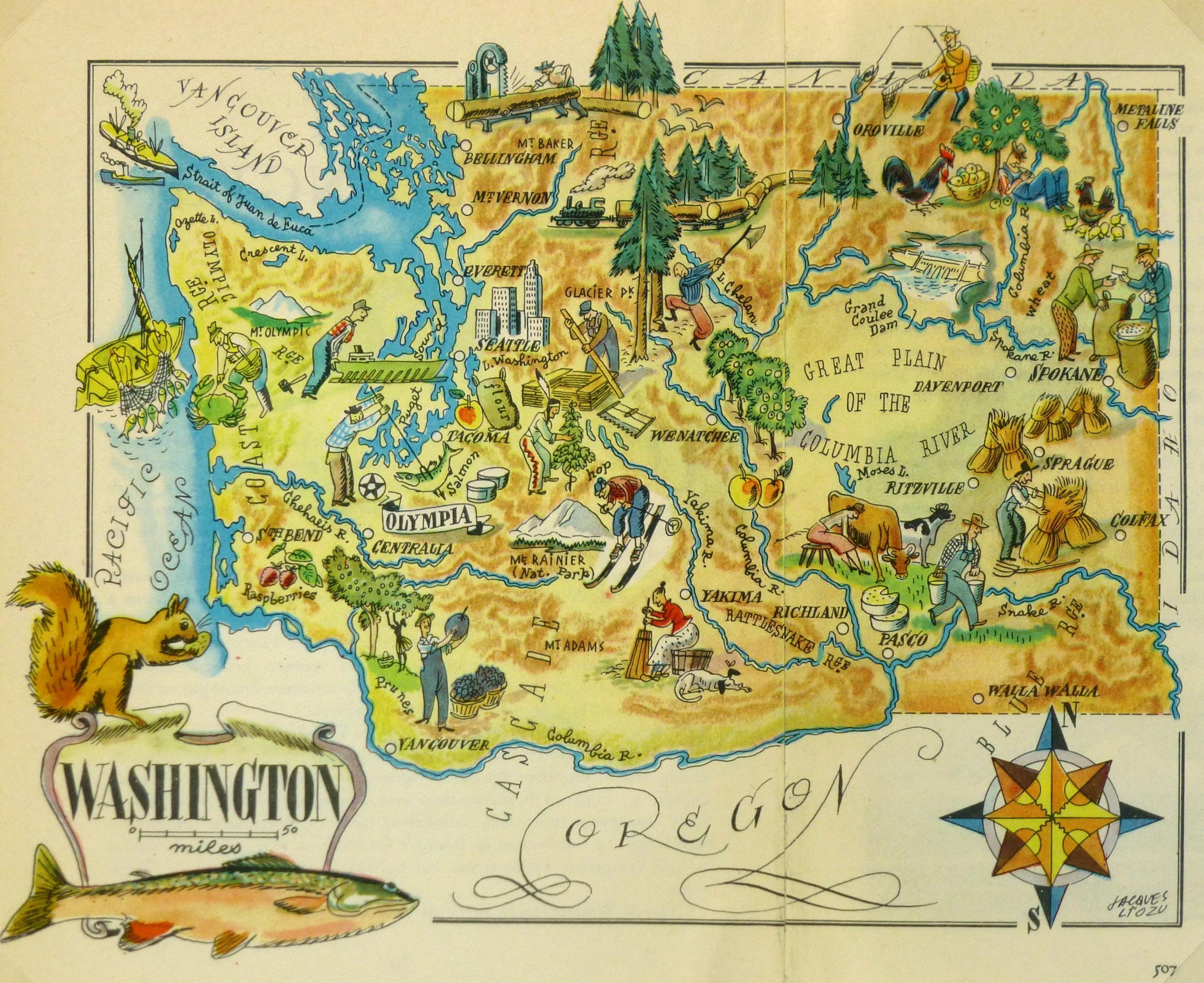 Washington Pictorial Map, 1946-main-6260K