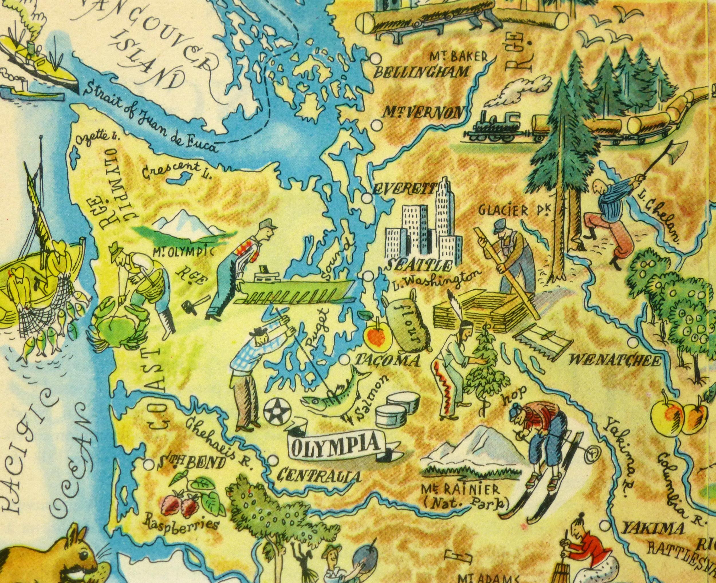 Washington Pictorial Map, 1946-detail-6260K