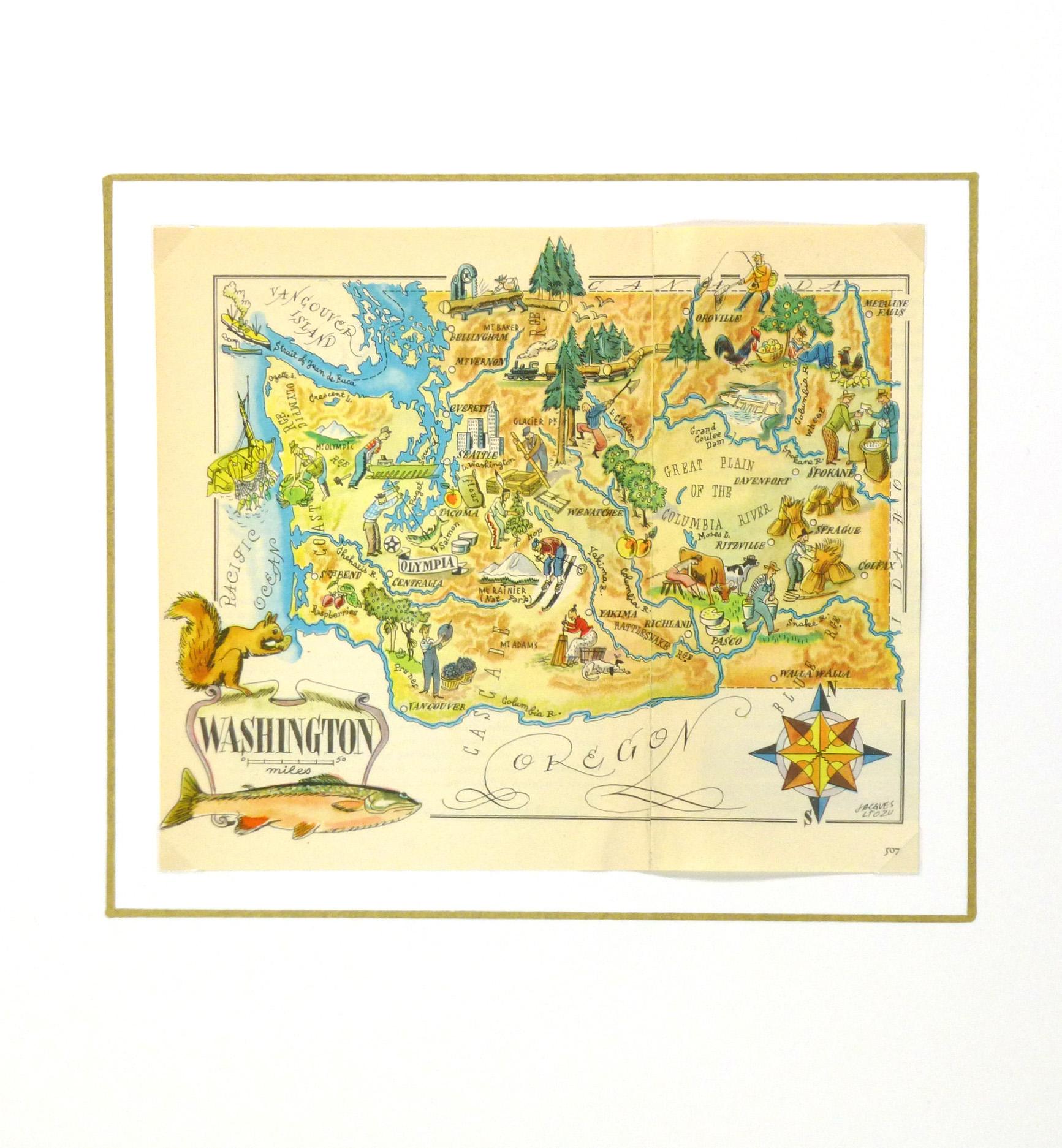Washington Pictorial Map, 1946-matted-6260K