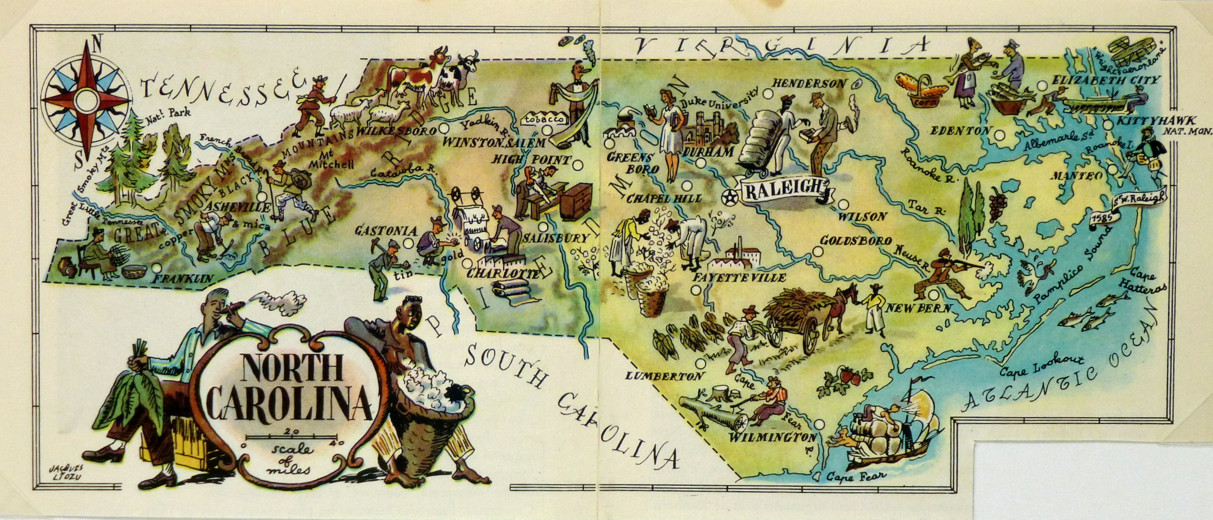 North Carolina Pictorial Map, 1946-main-6261K