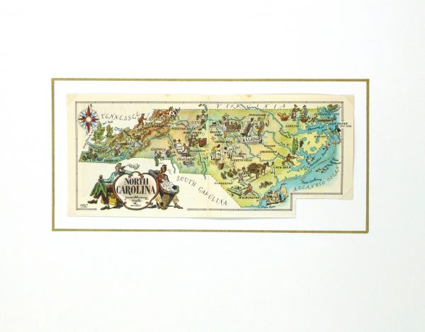 North Carolina Pictorial Map, 1946-matted-6261K