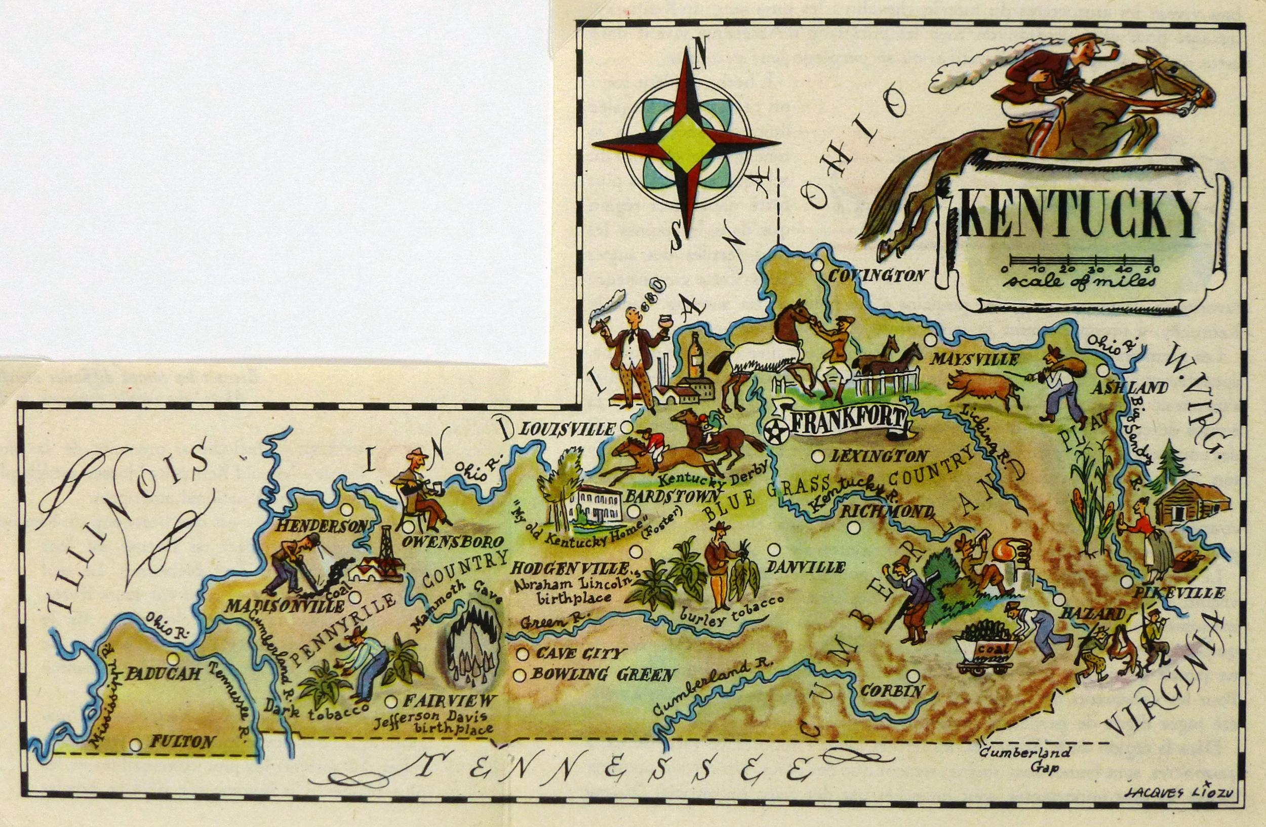 Kentucky Pictorial Map, 1946-main-6262K