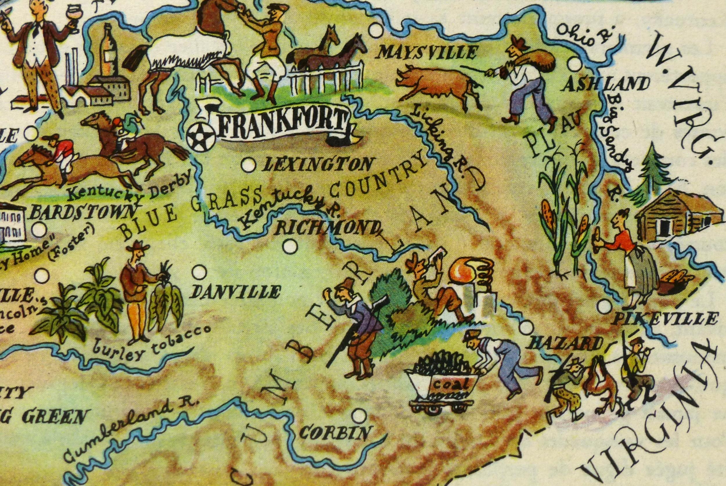 Kentucky Pictorial Map, 1946-detail-6262K