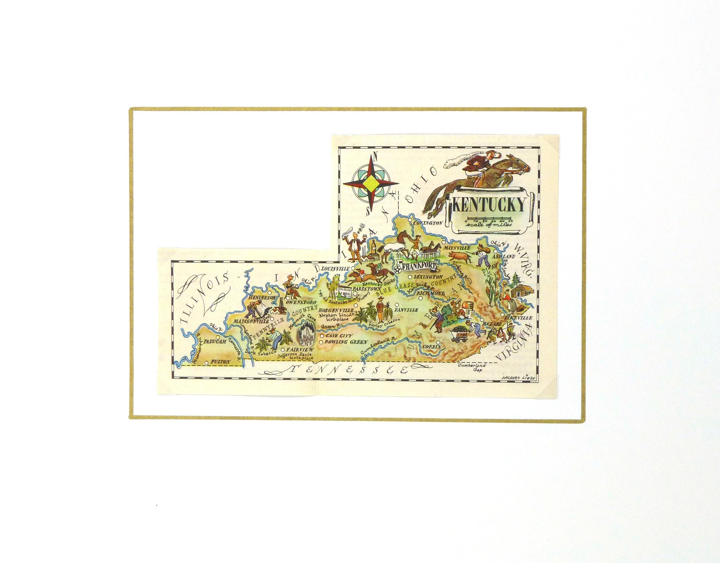 Kentucky Pictorial Map, 1946-matted-6262K