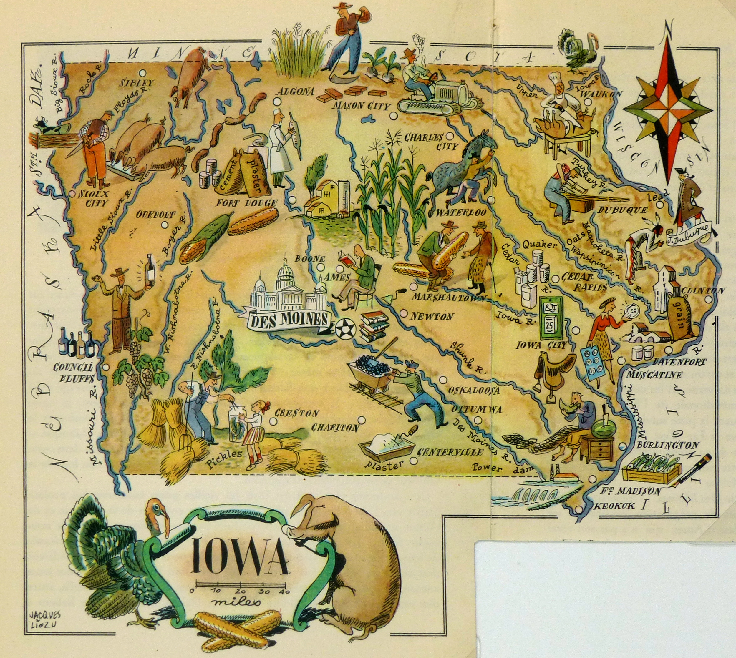 Iowa Pictorial Map 1946