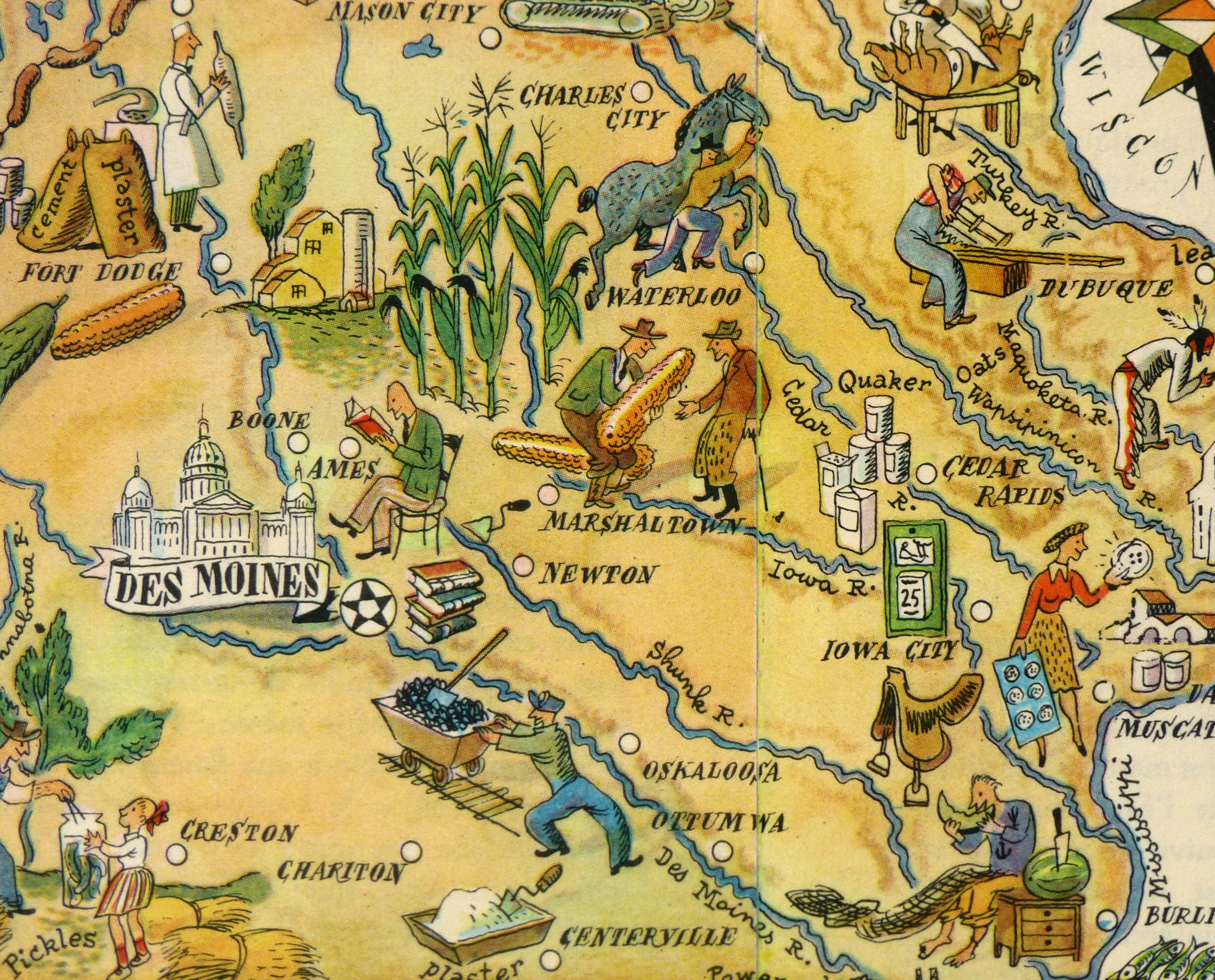 Pictorial Map - Iowa, 1946-detail-6263K