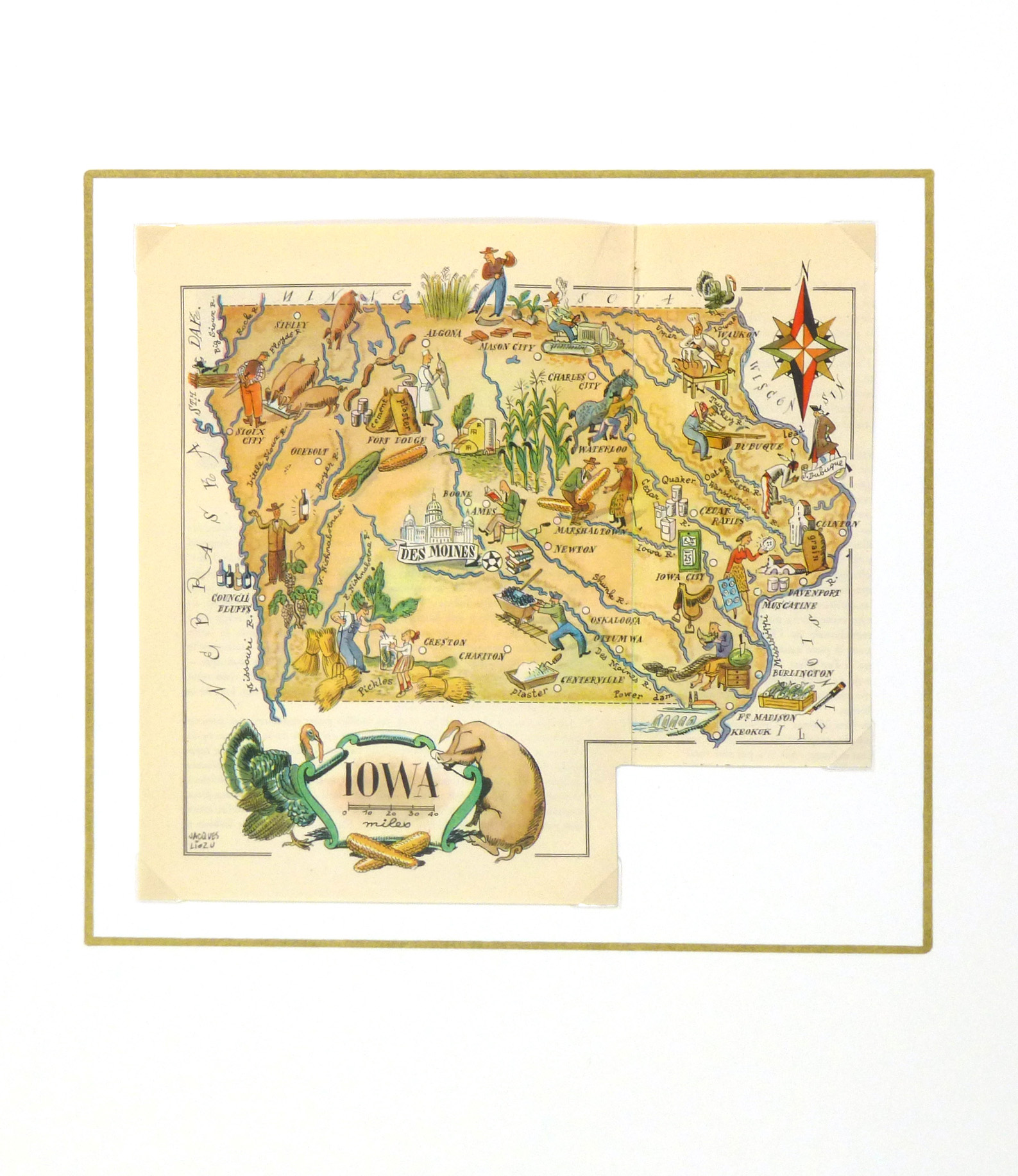 Pictorial Map - Iowa, 1946-matted-6263K