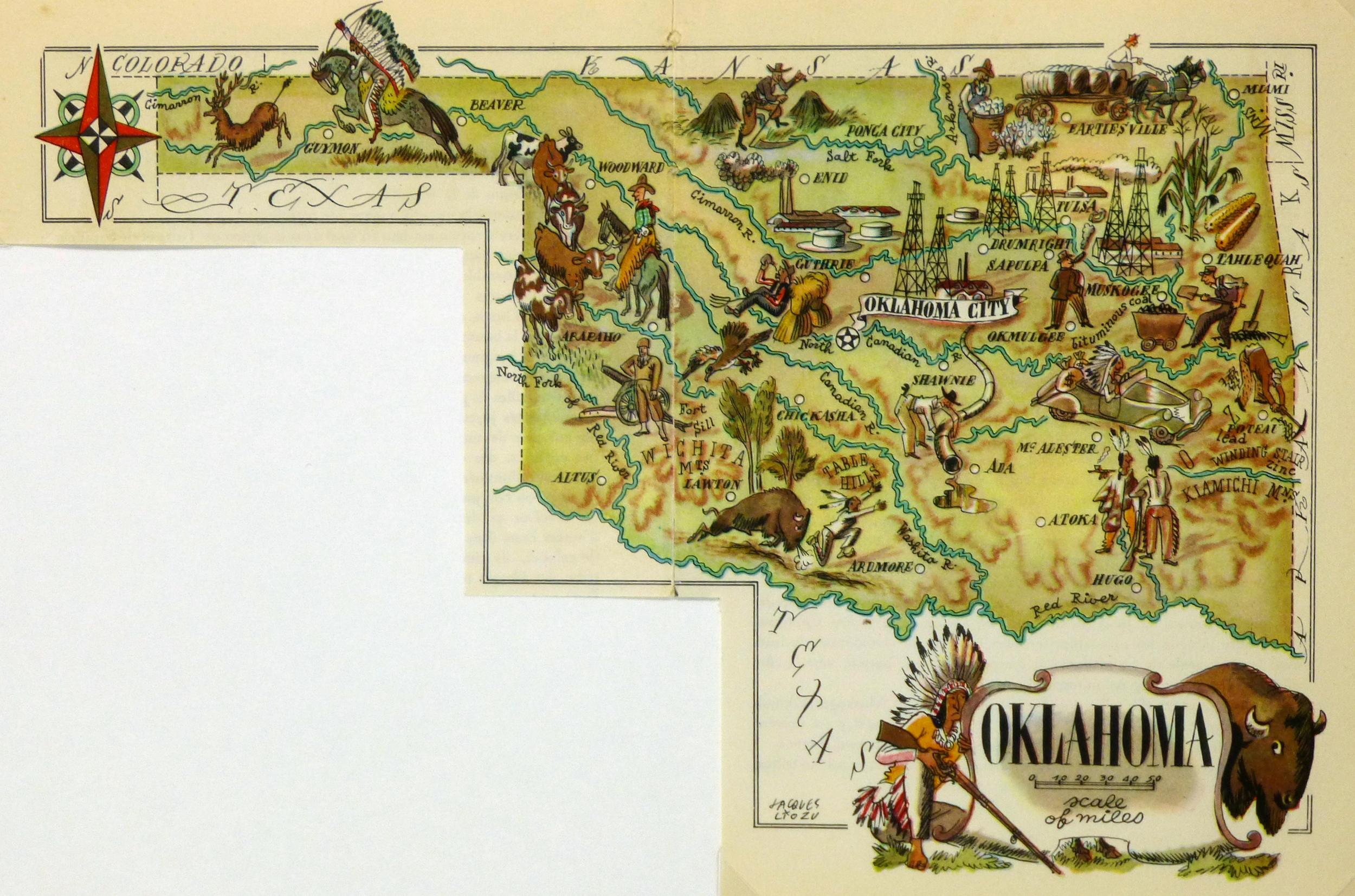 Oklahoma Pictorial Map, 1946-main-6264K