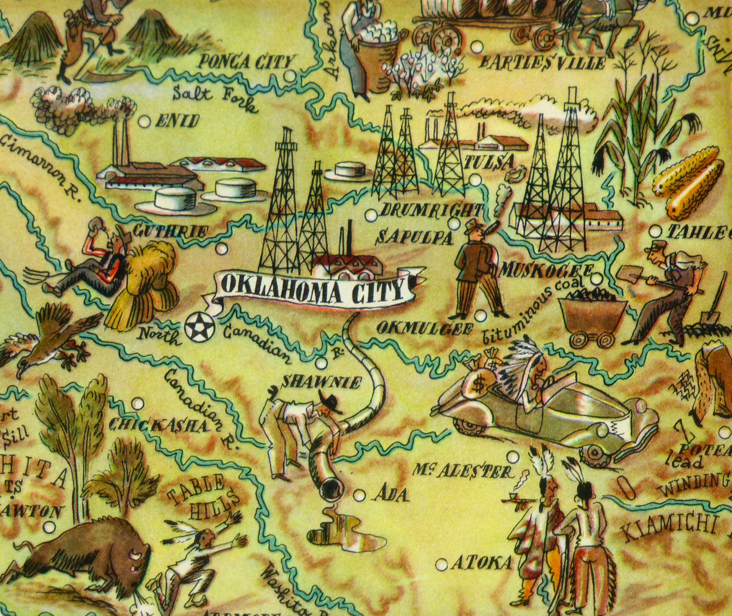 Oklahoma Pictorial Map, 1946-detail-6264K