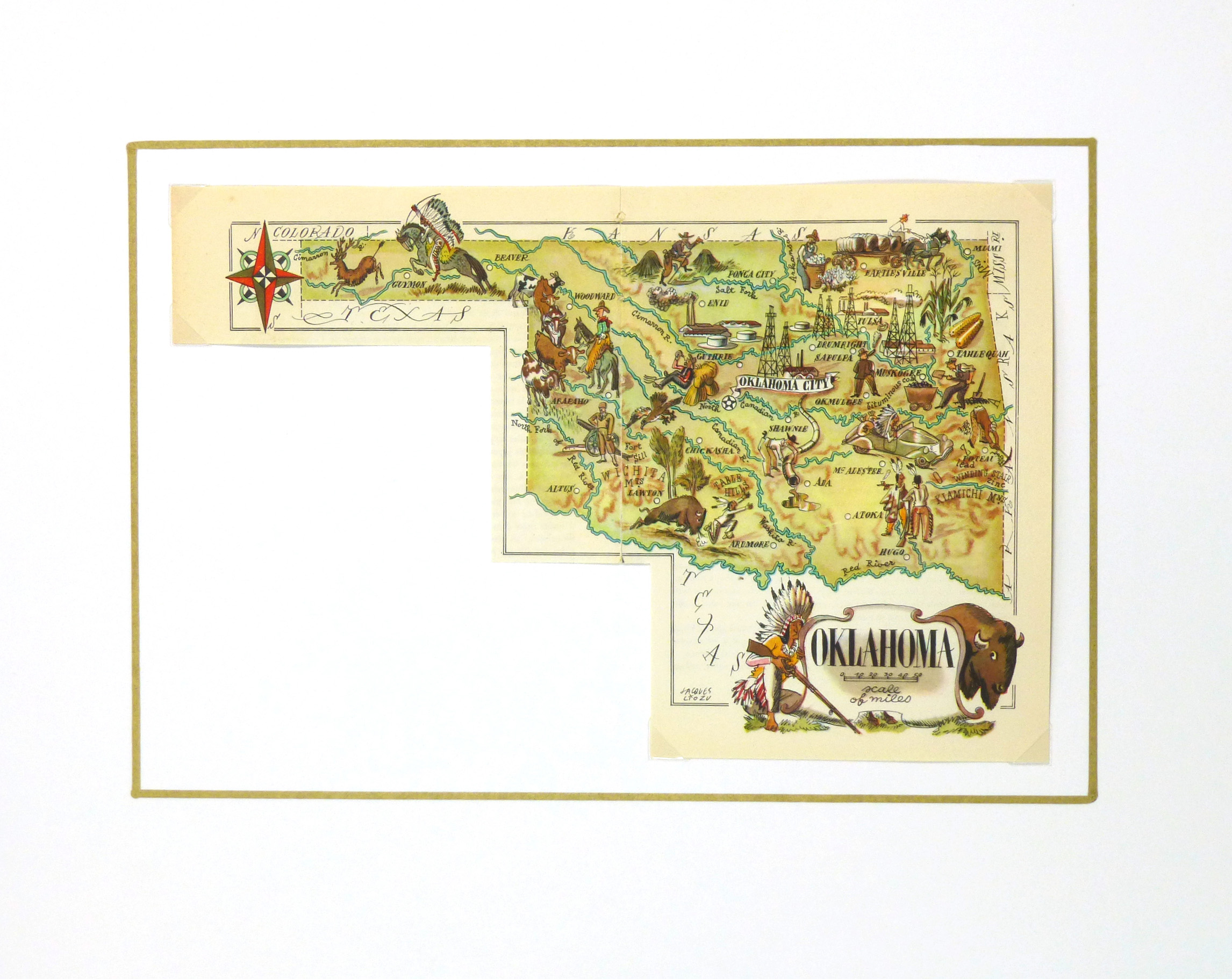 Oklahoma Pictorial Map, 1946-matted-6264K