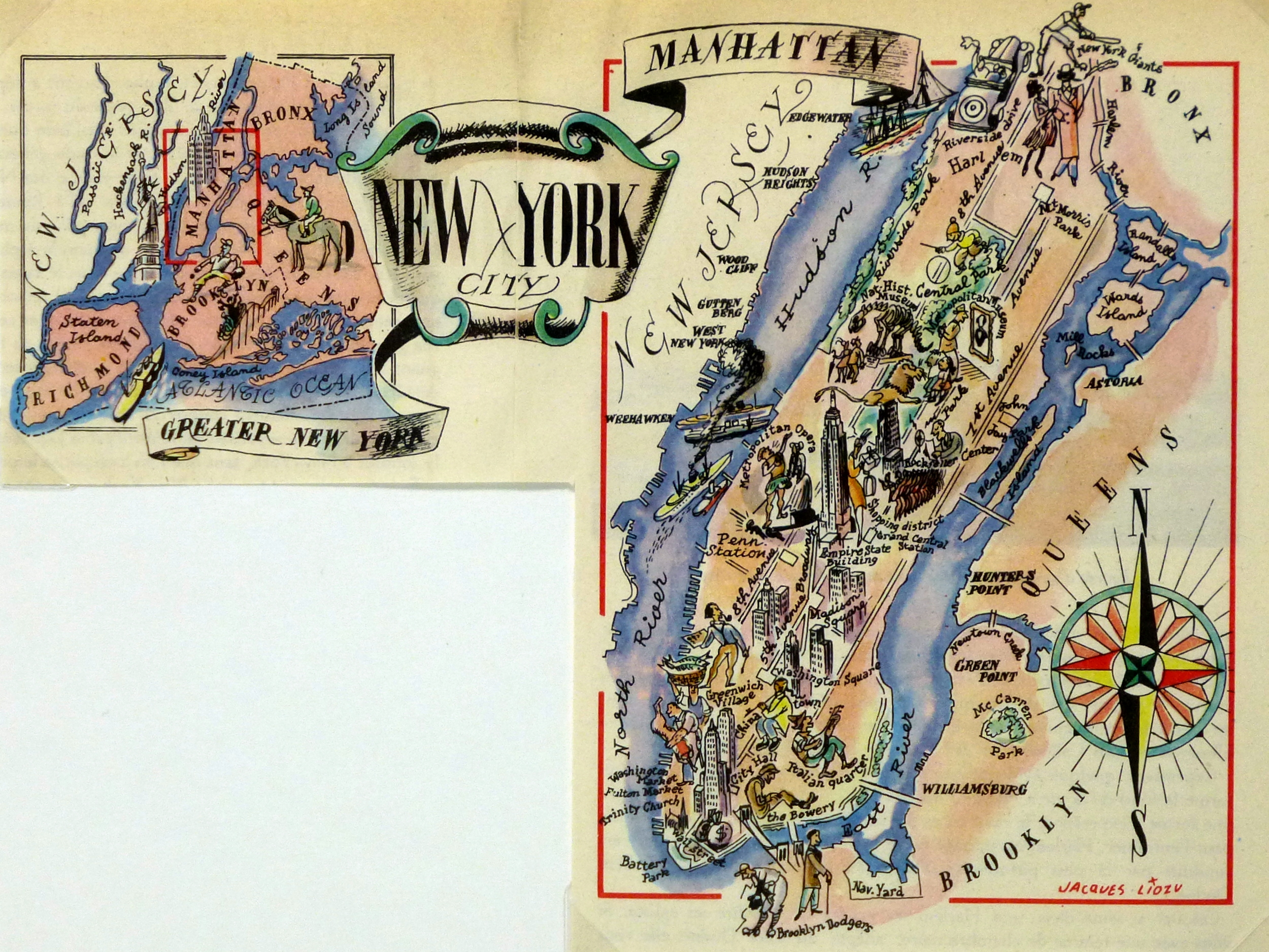 New York City Pictorial Map, 1946-main-6265K