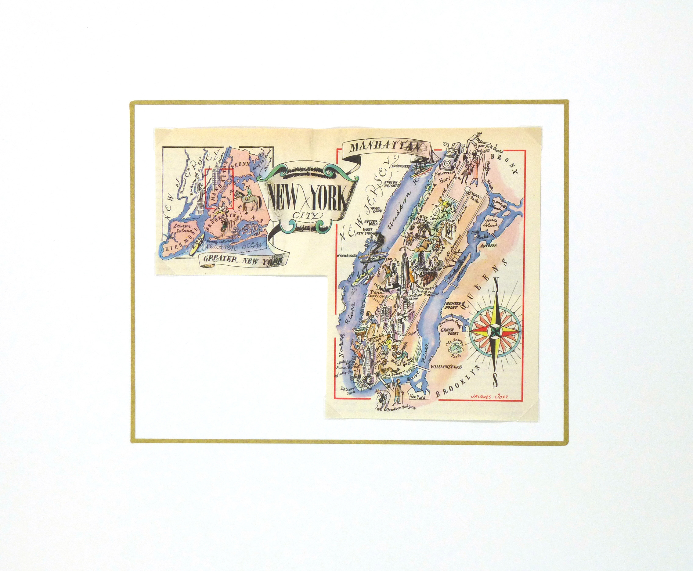 New York City Pictorial Map, 1946-matted-6265K