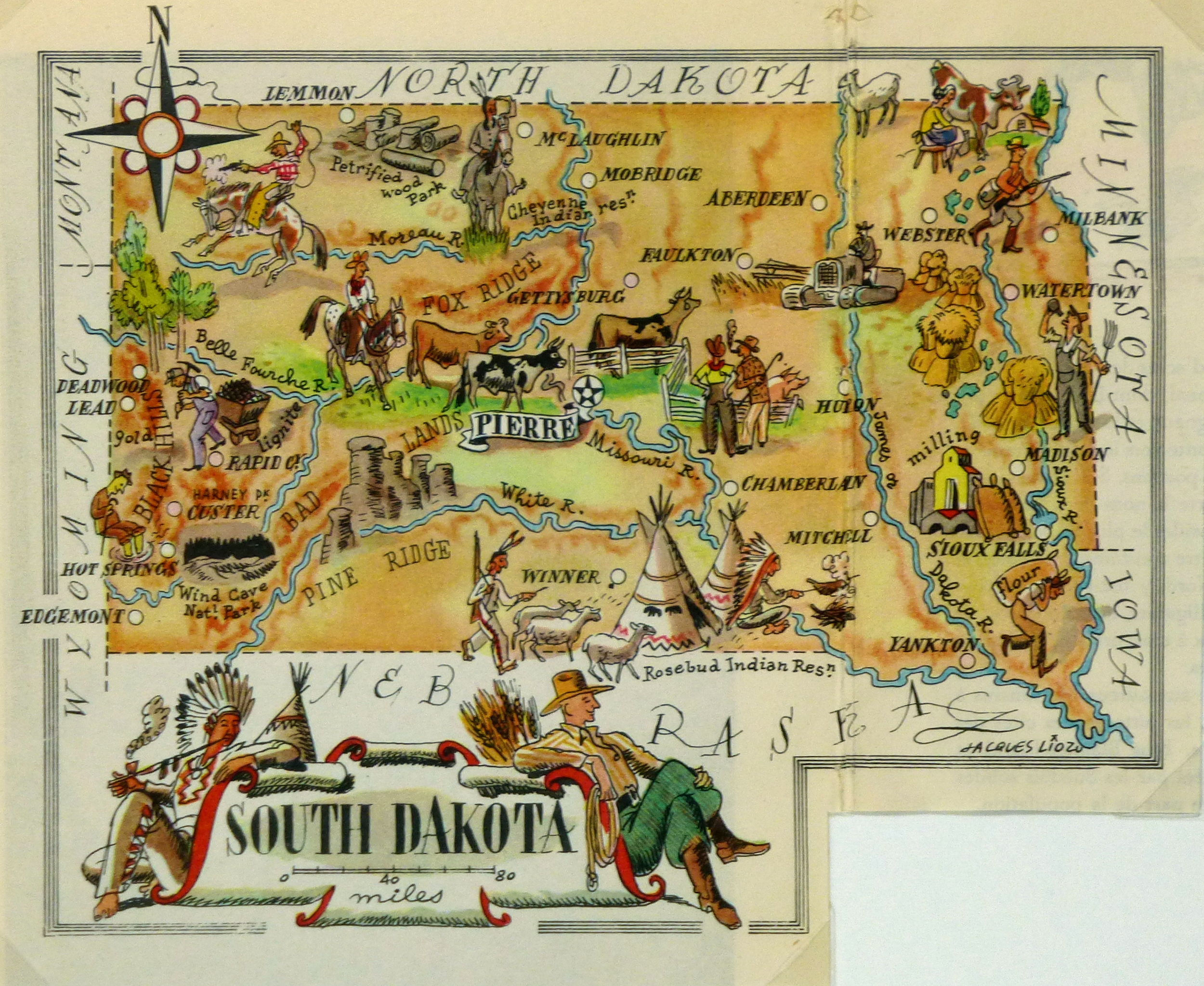 South Dakota Pictorial Map 1946