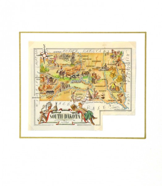 South Dakota Pictorial Map, 1946-matted-6266K