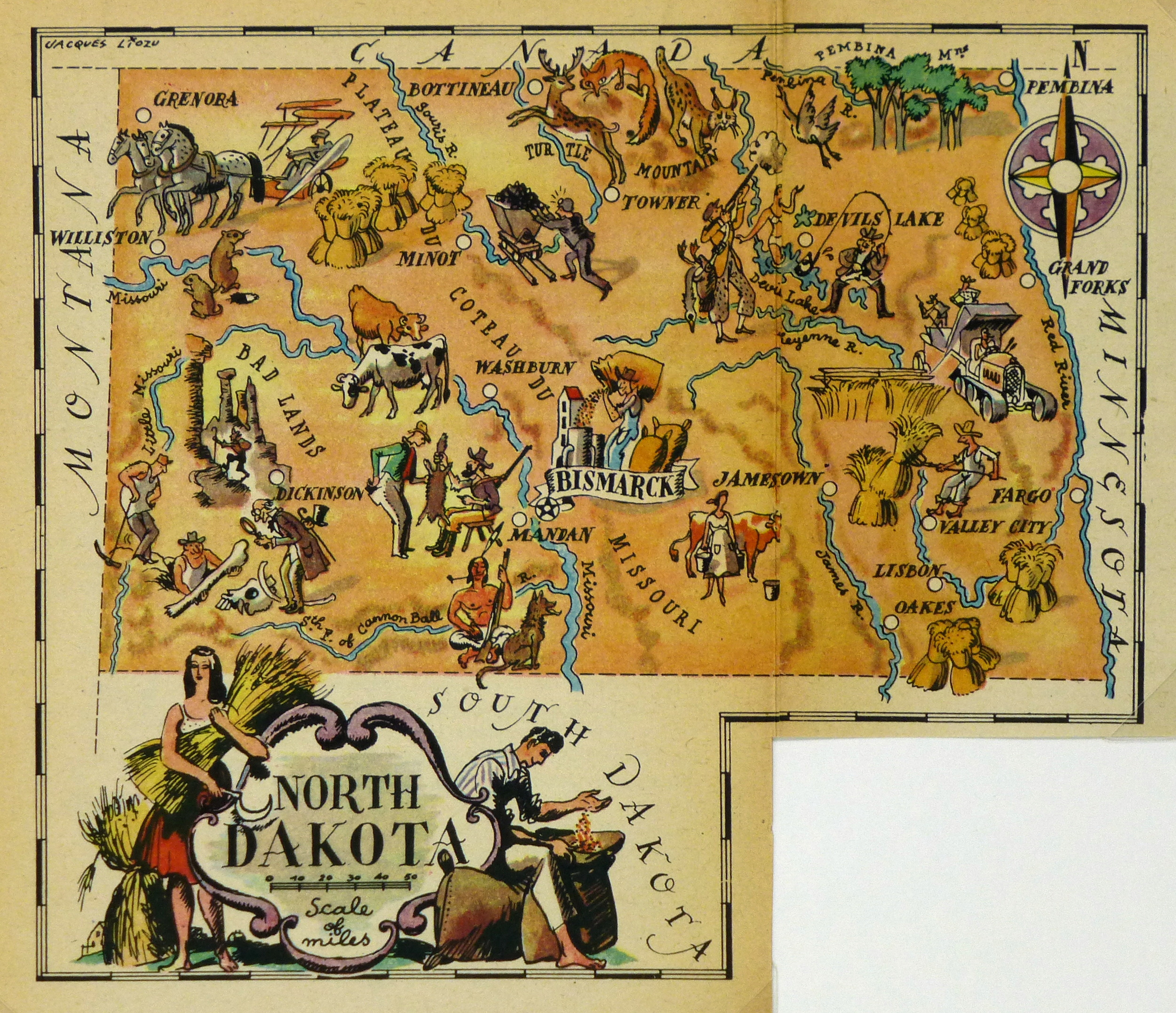 North Dakota Pictorial Map, 1946