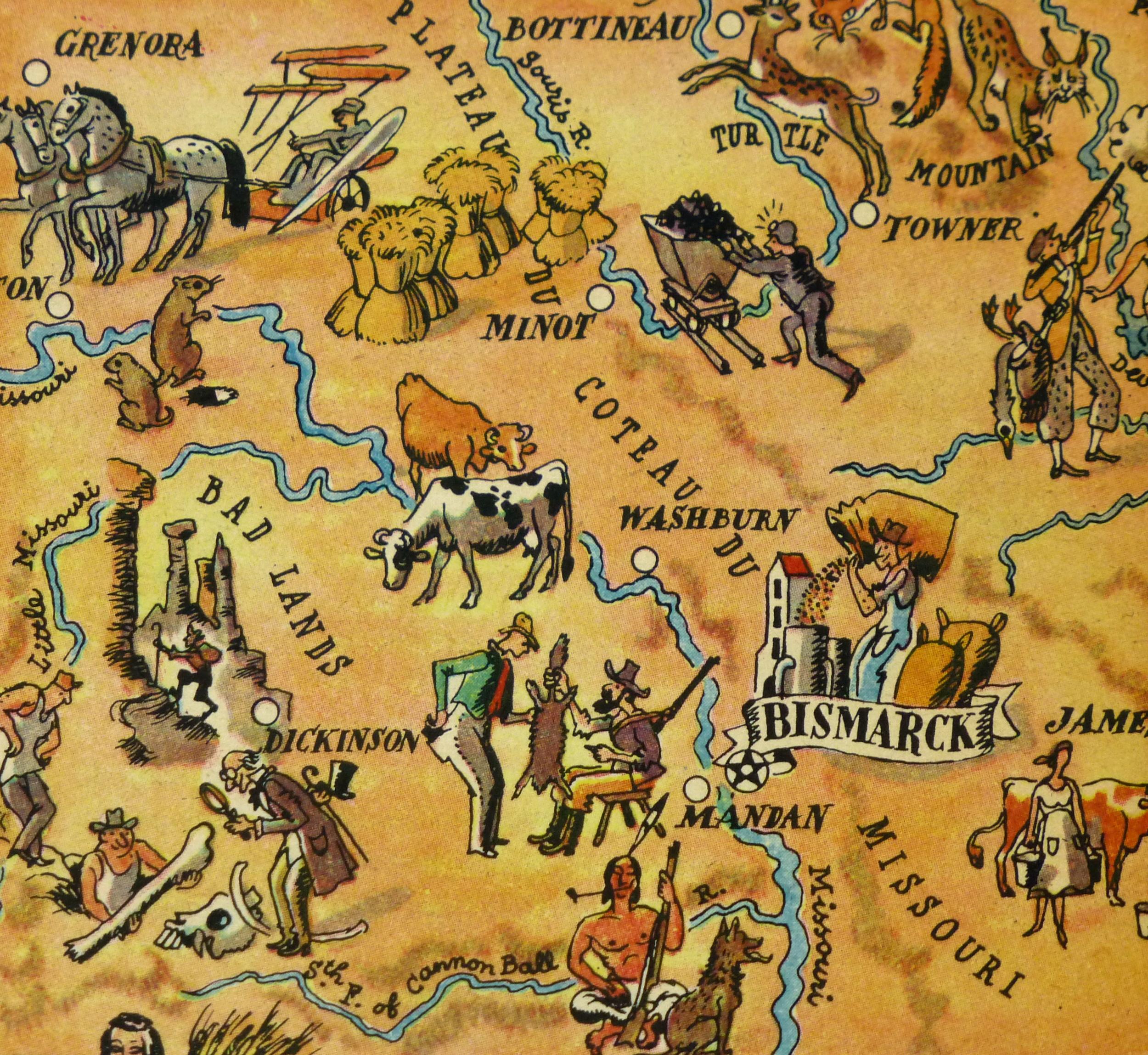 North Dakota Pictorial Map, 1946-detail-6267K