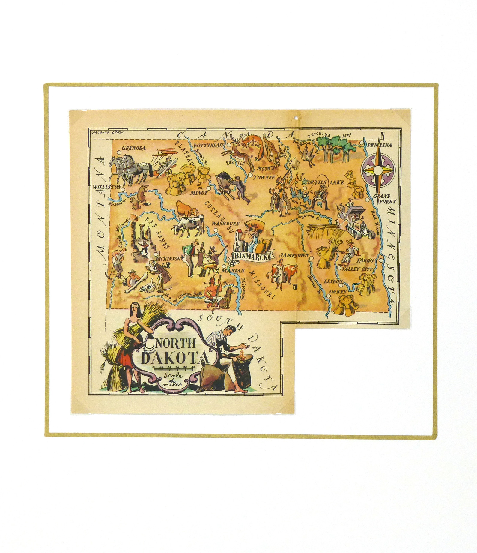 North Dakota Pictorial Map, 1946-matted-6267K