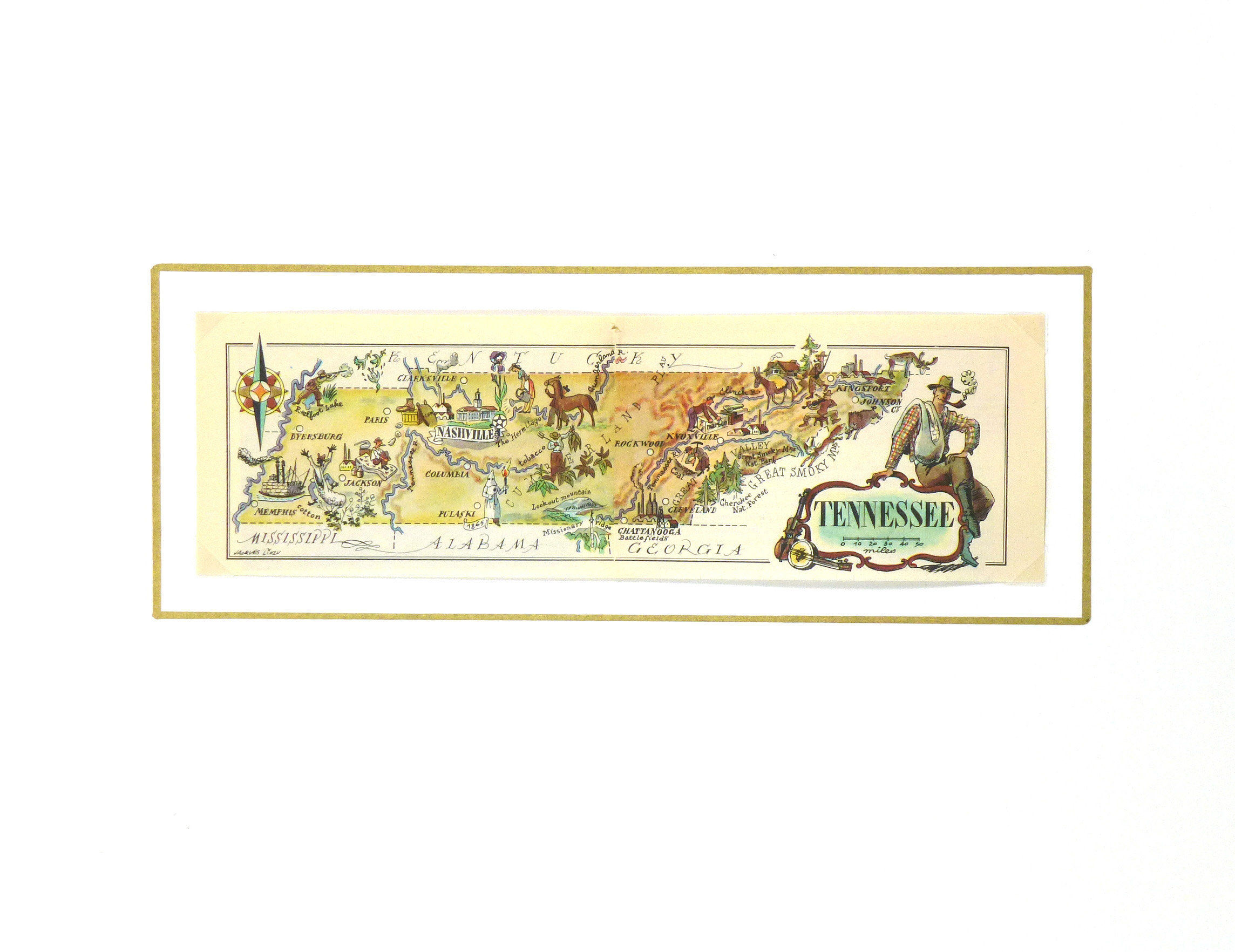 Tennessee Pictorial Map, 1946-matted-6268K