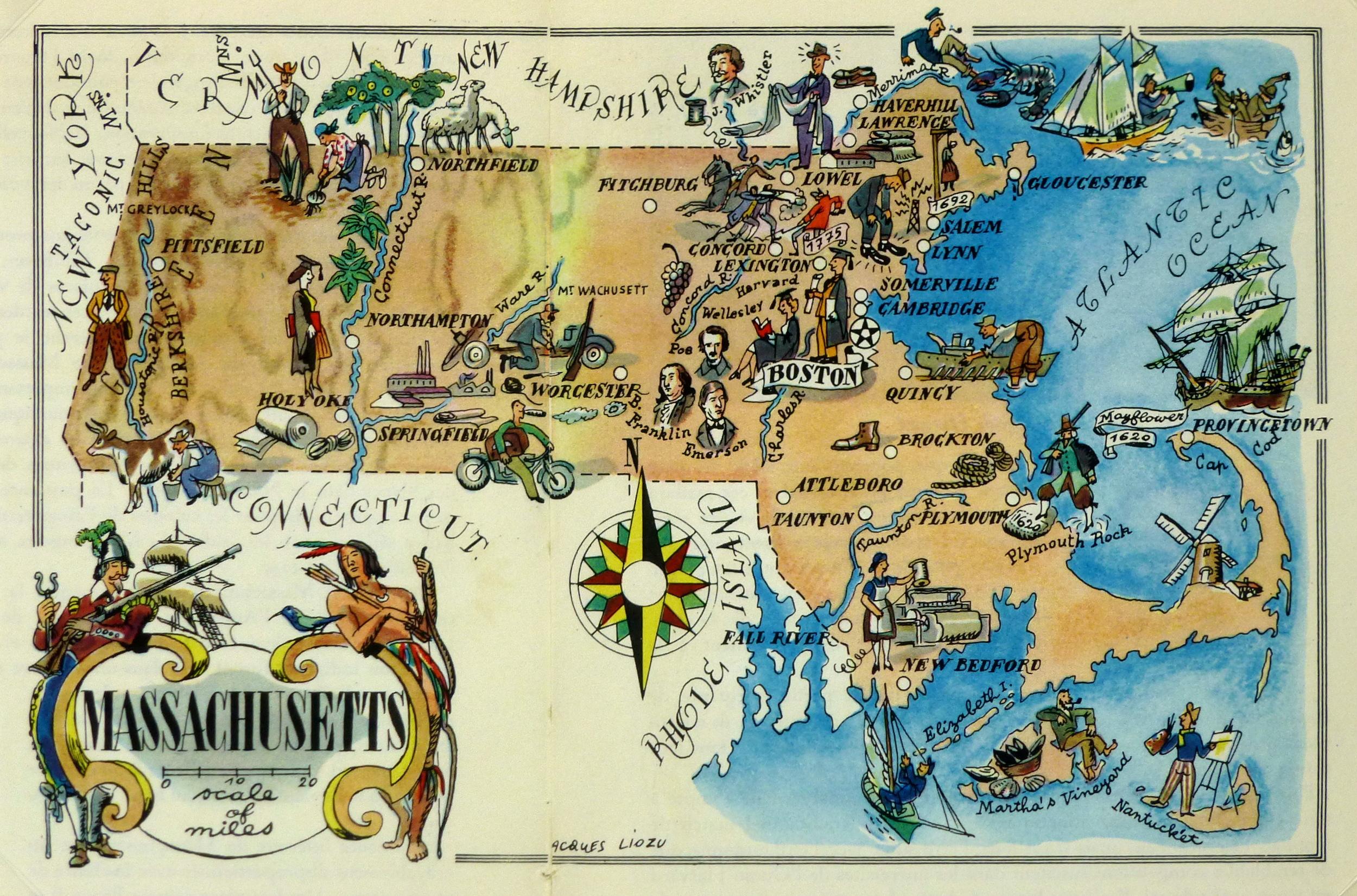 Massachusetts Pictorial Map, 1946-main-6269K