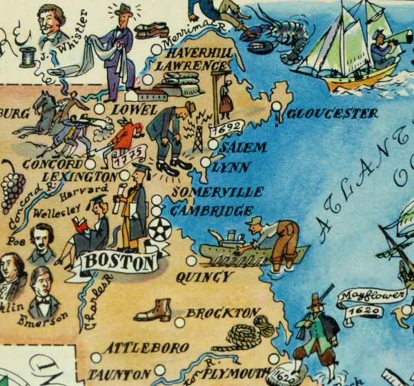Massachusetts Pictorial Map, 1946-detail-6269K