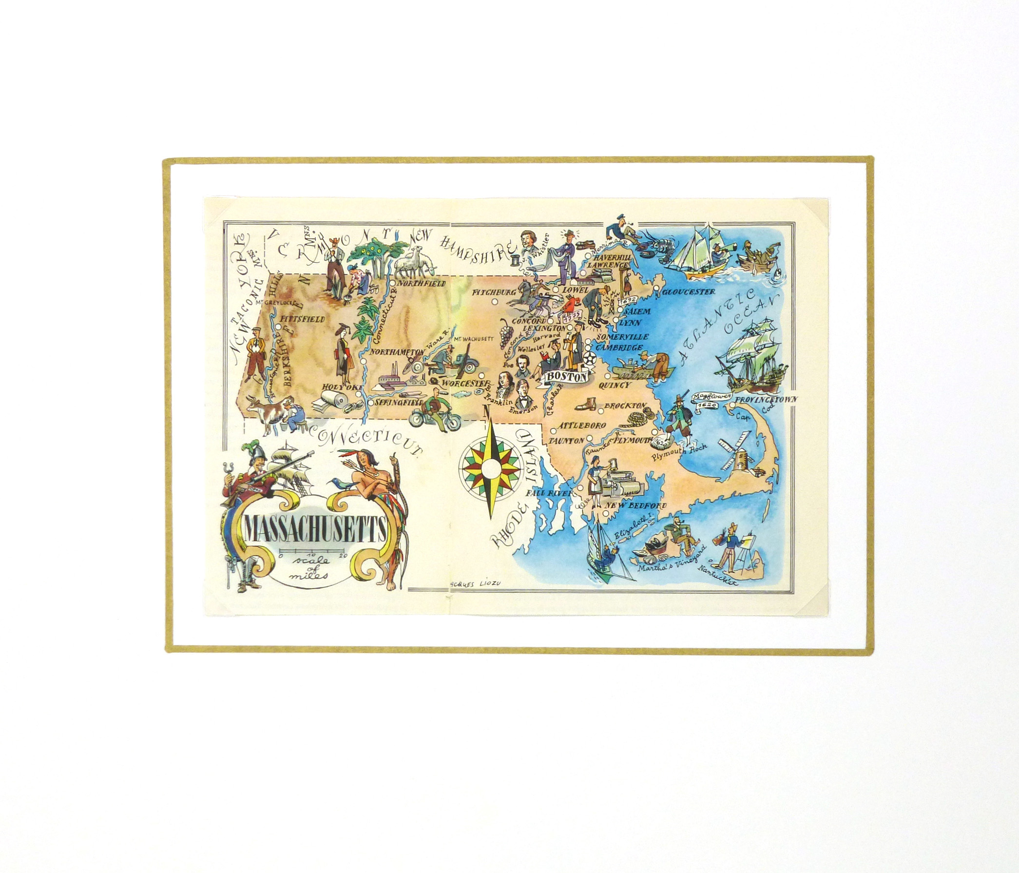 Massachusetts Pictorial Map, 1946-matted-6269K