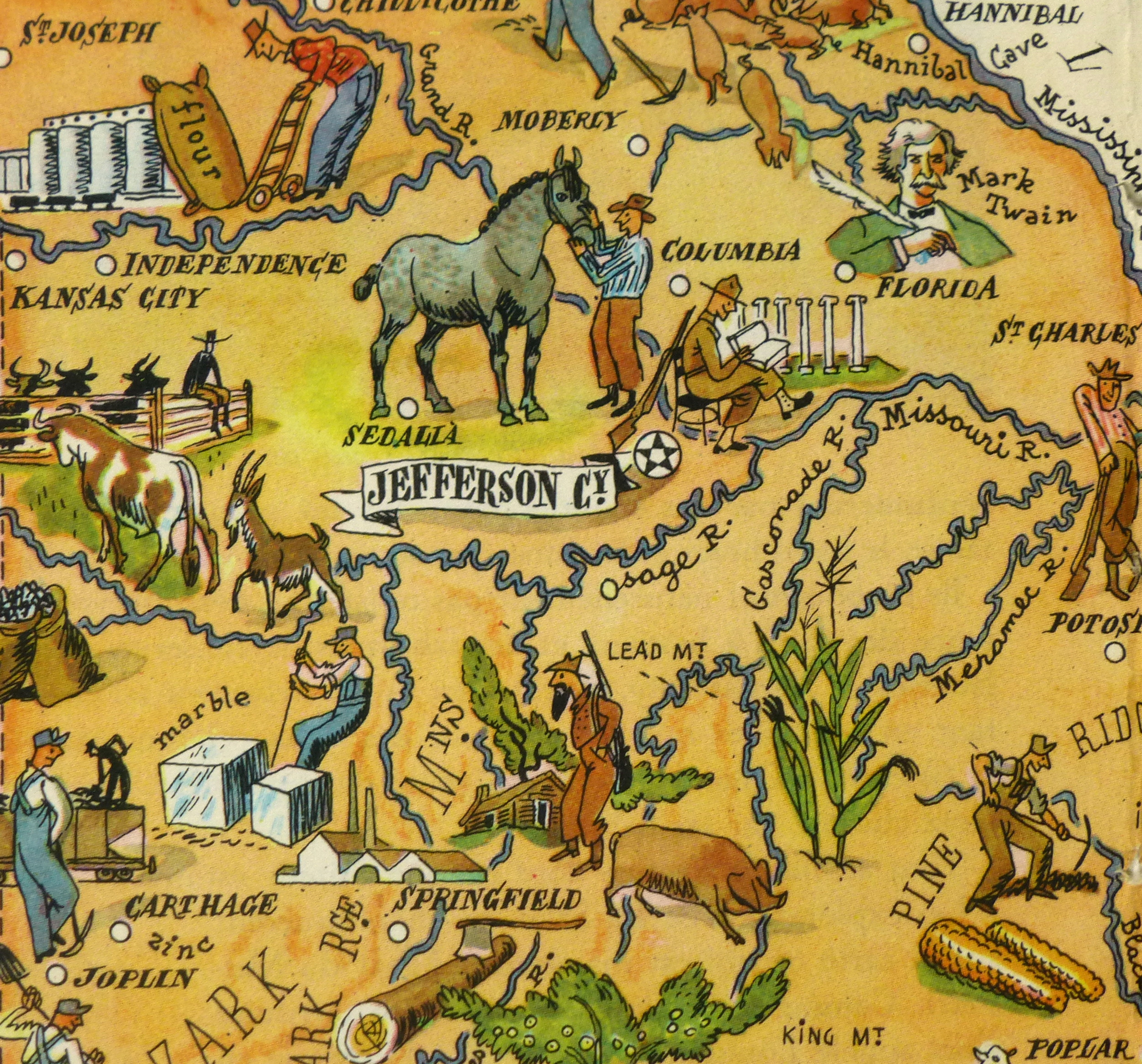 Missouri Pictorial Map, 1946-detail-6270K