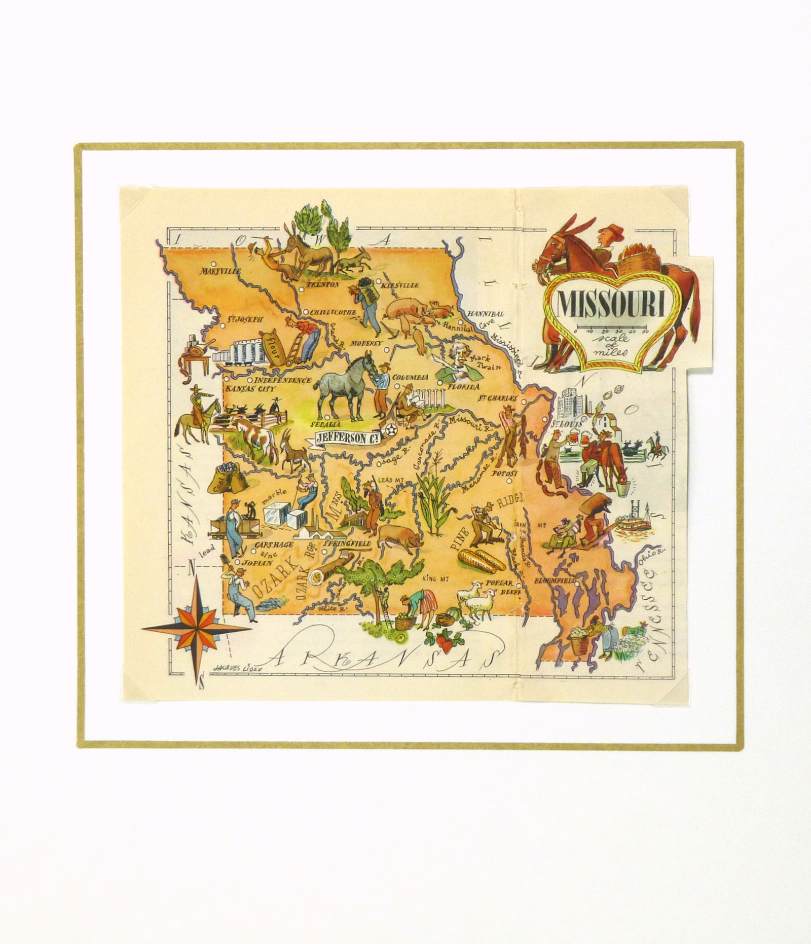 Missouri Pictorial Map, 1946-matted-6270K
