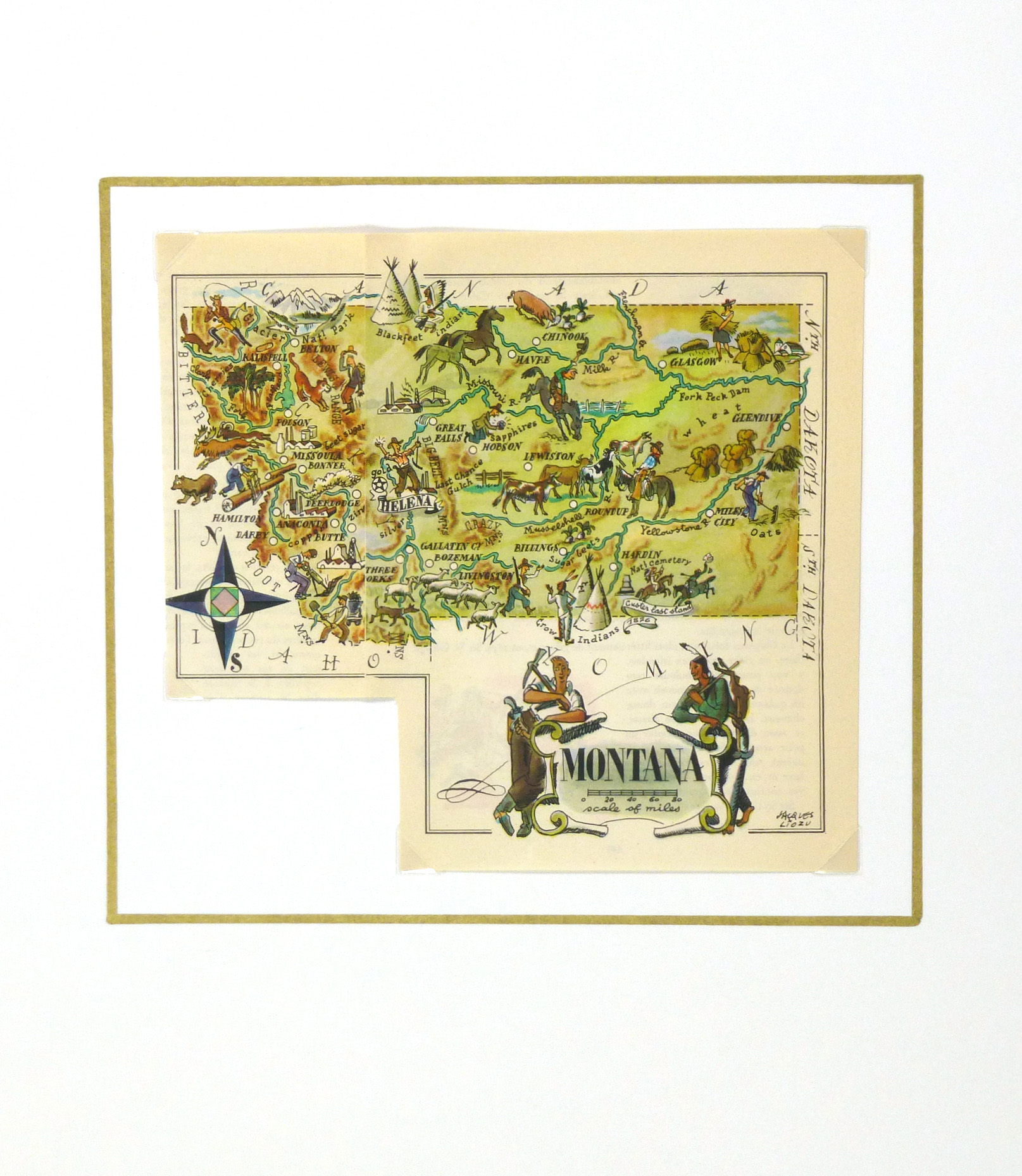 Montana Pictorial Map, 1946-matted-6272K