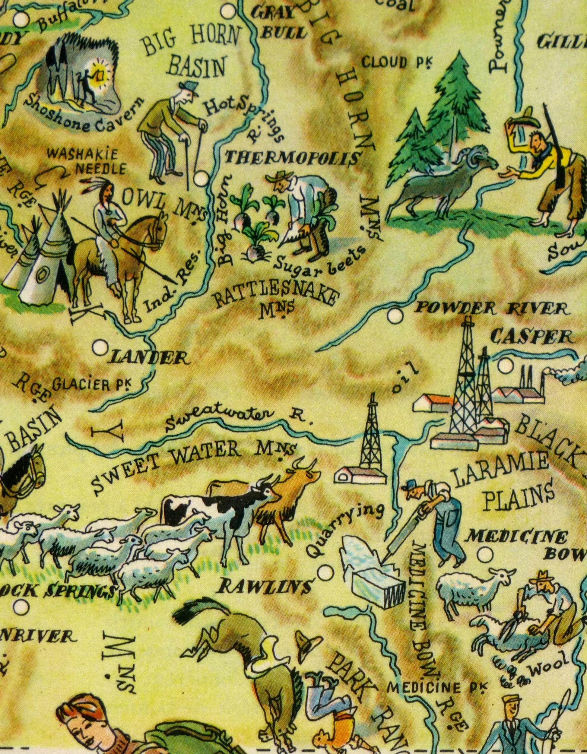 Wyoming Pictorial Map, 1946-detail-6274K