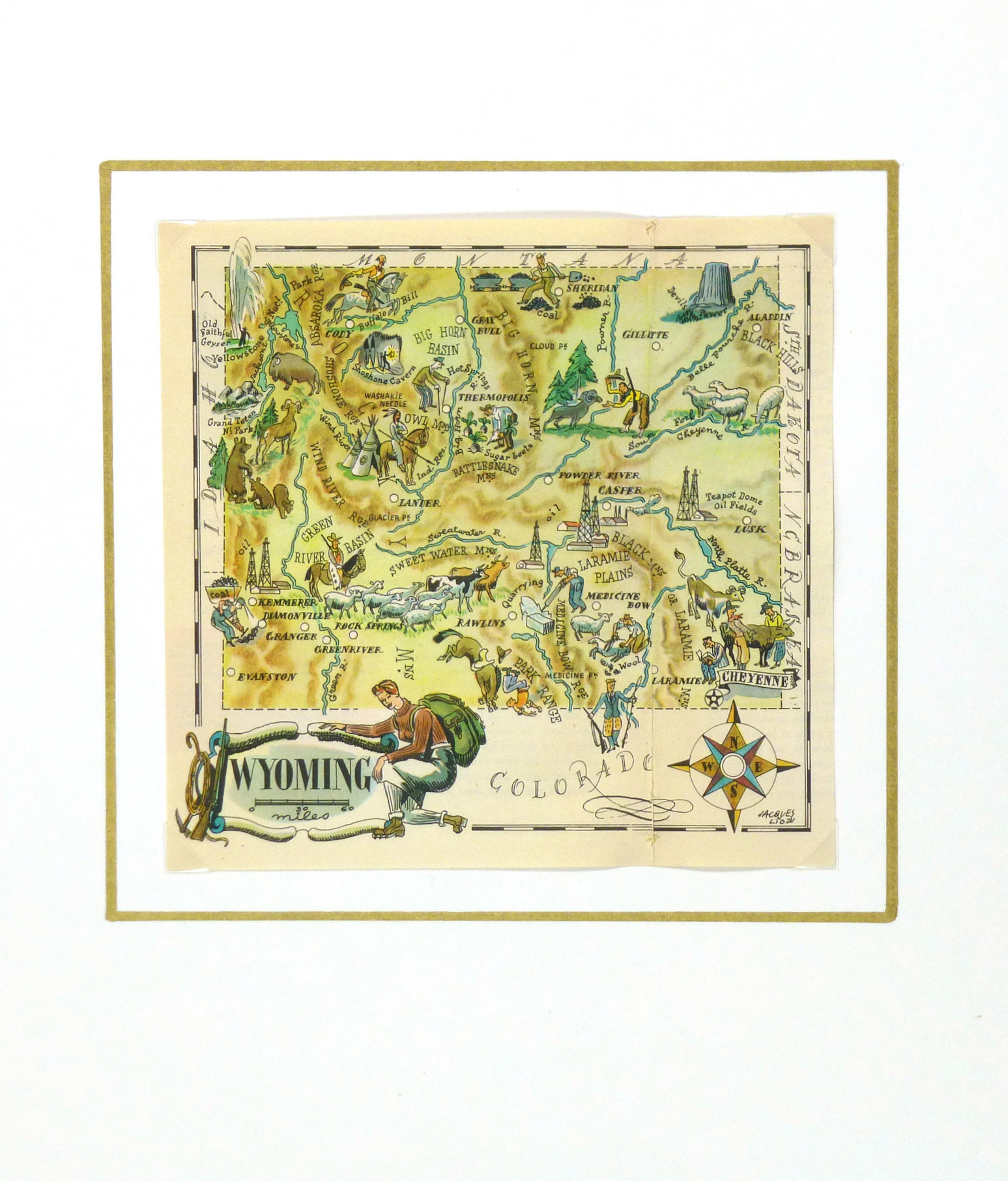 Wyoming Pictorial Map, 1946-matted-6274K
