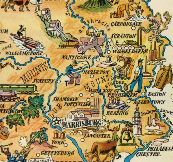 Pennsylvania Pictorial Map, 1946-detail-6275K