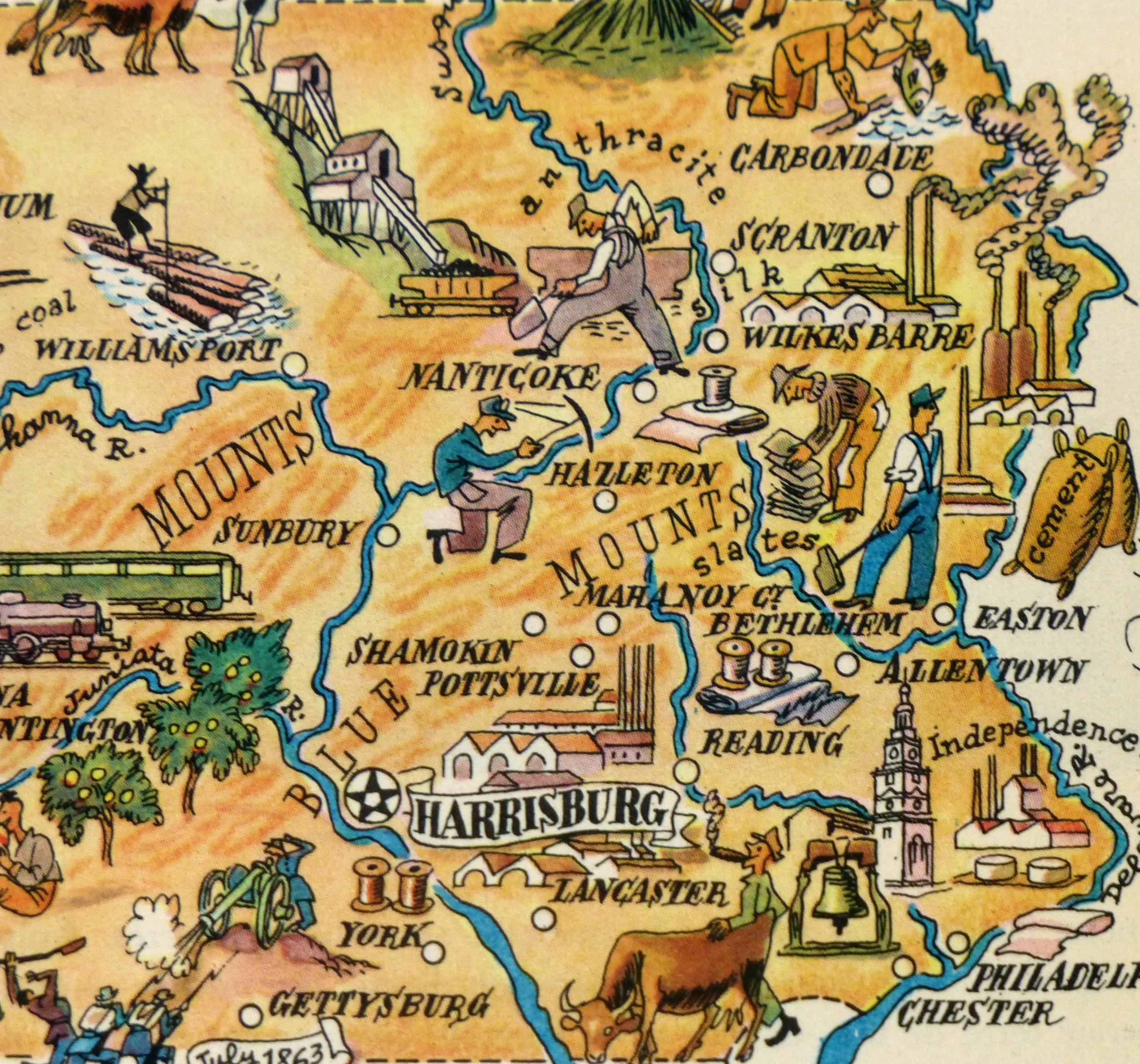 Pennsylvania Pictorial Map, 1946-detail-6275K