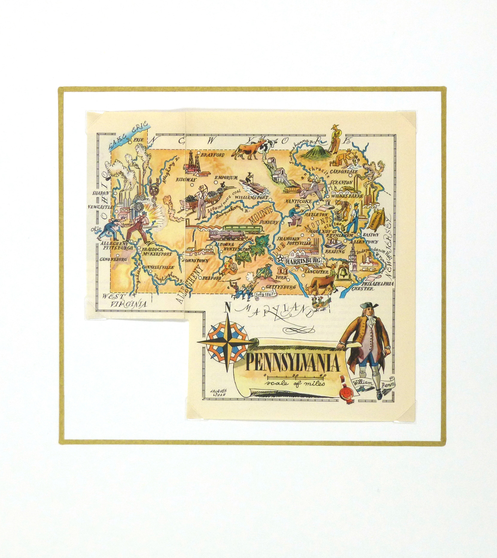 Pennsylvania Pictorial Map, 1946-matted-6275K