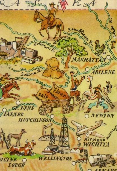 Pictorial Map - Kansas, 1946-detail-6276K
