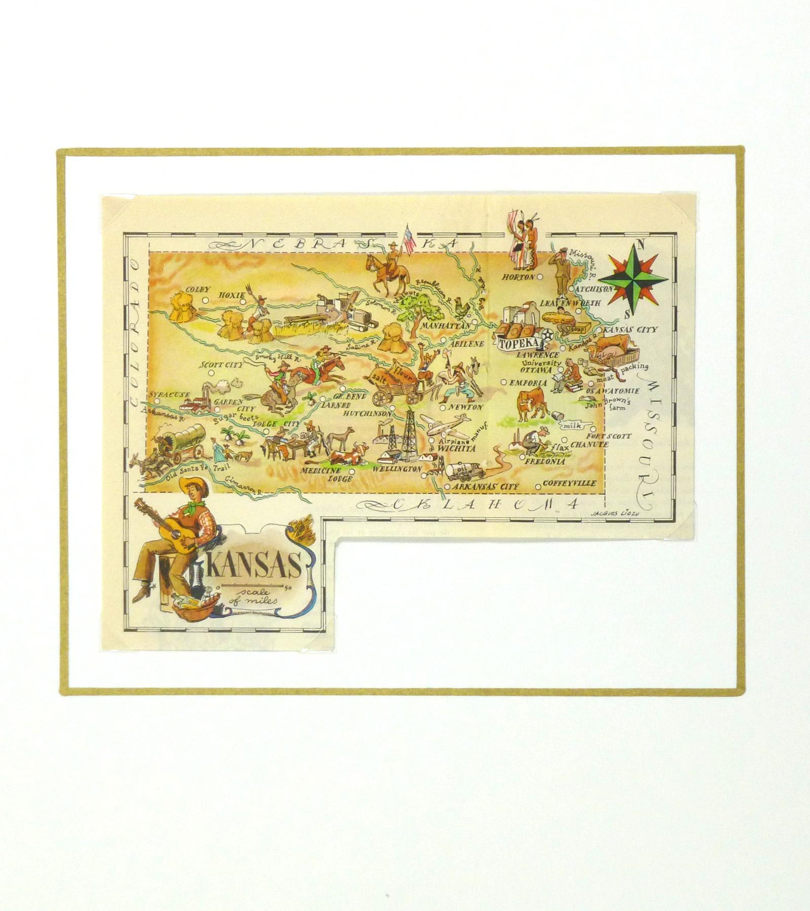 Pictorial Map - Kansas, 1946-matted-6276K