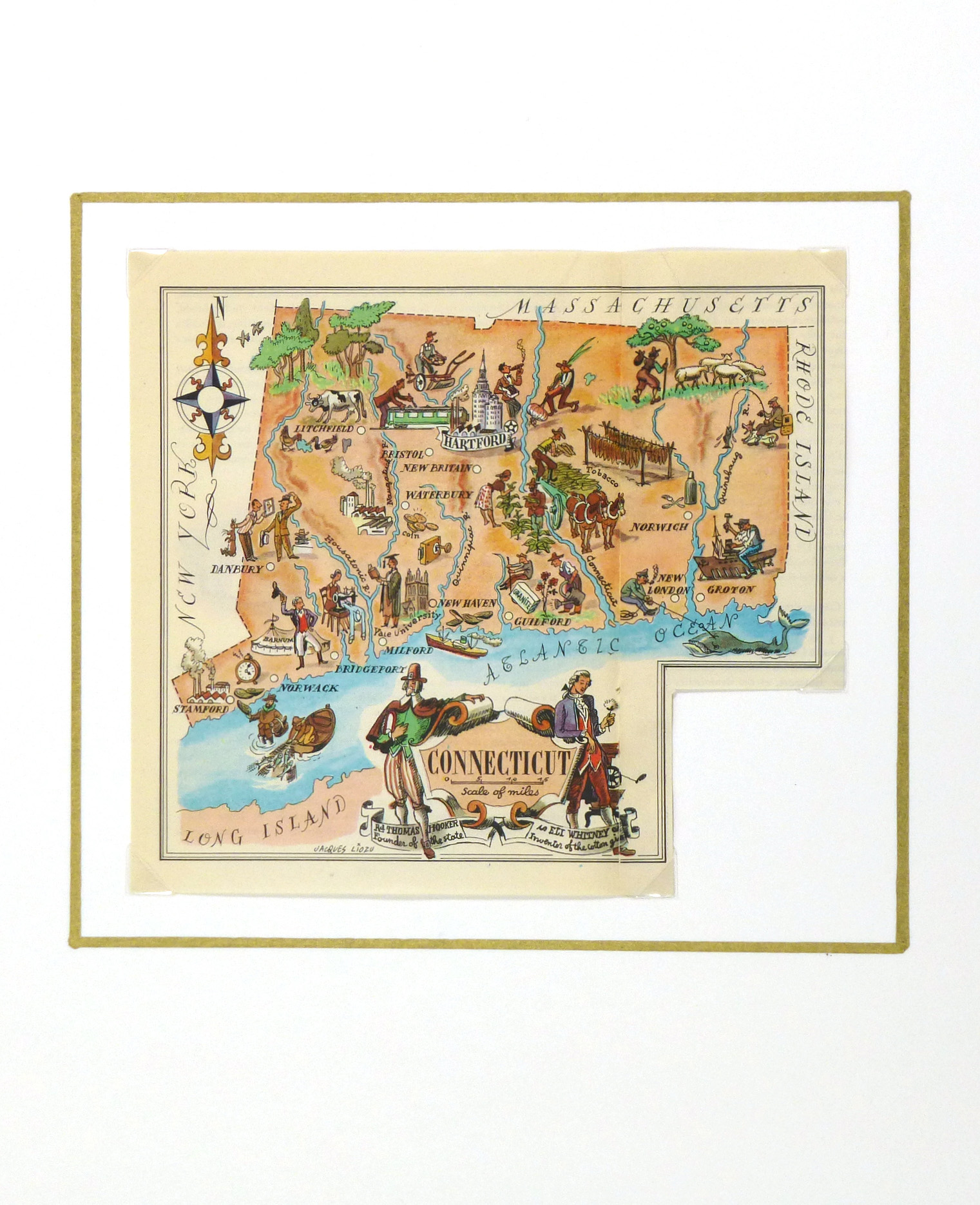 Pictorial Map - Connecticut, 1946-matted-6277K