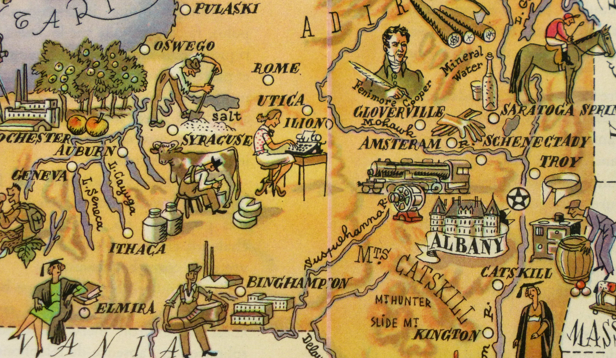 New York Pictorial Map, 1946-detail-6278K