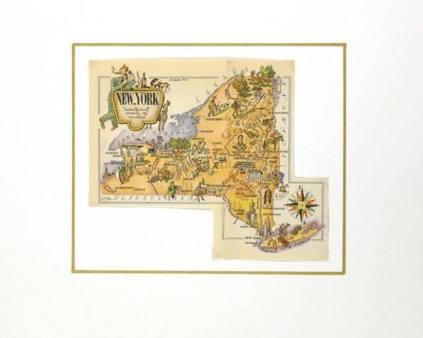 New York Pictorial Map, 1946-matted-6278K