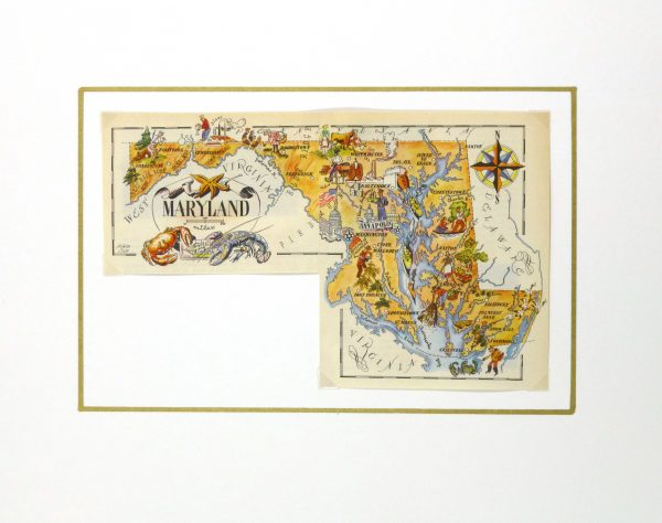 Maryland Pictorial Map, 1946-matted-6279K