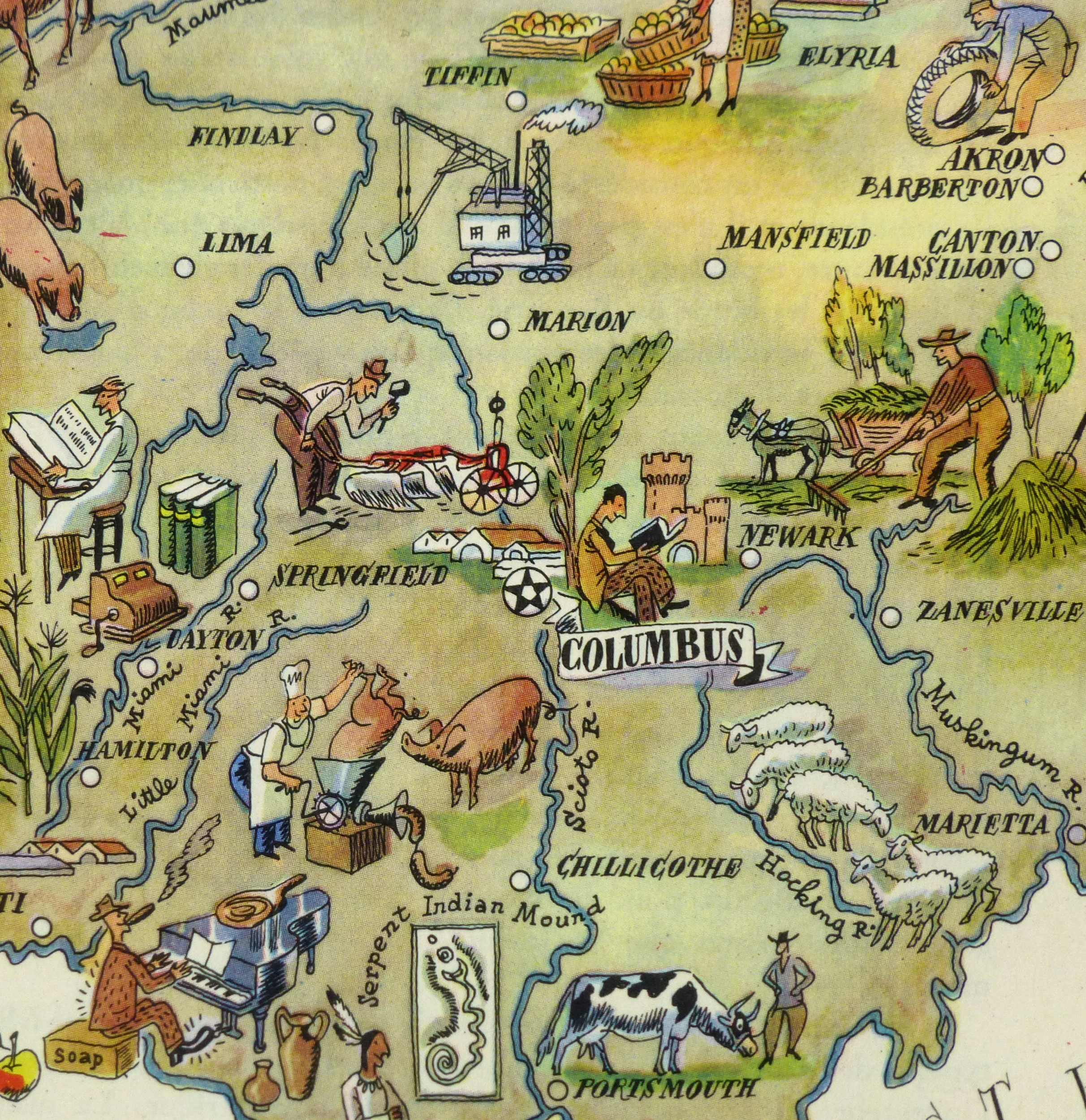 Ohio Pictorial Map, 1946-detail-6280K