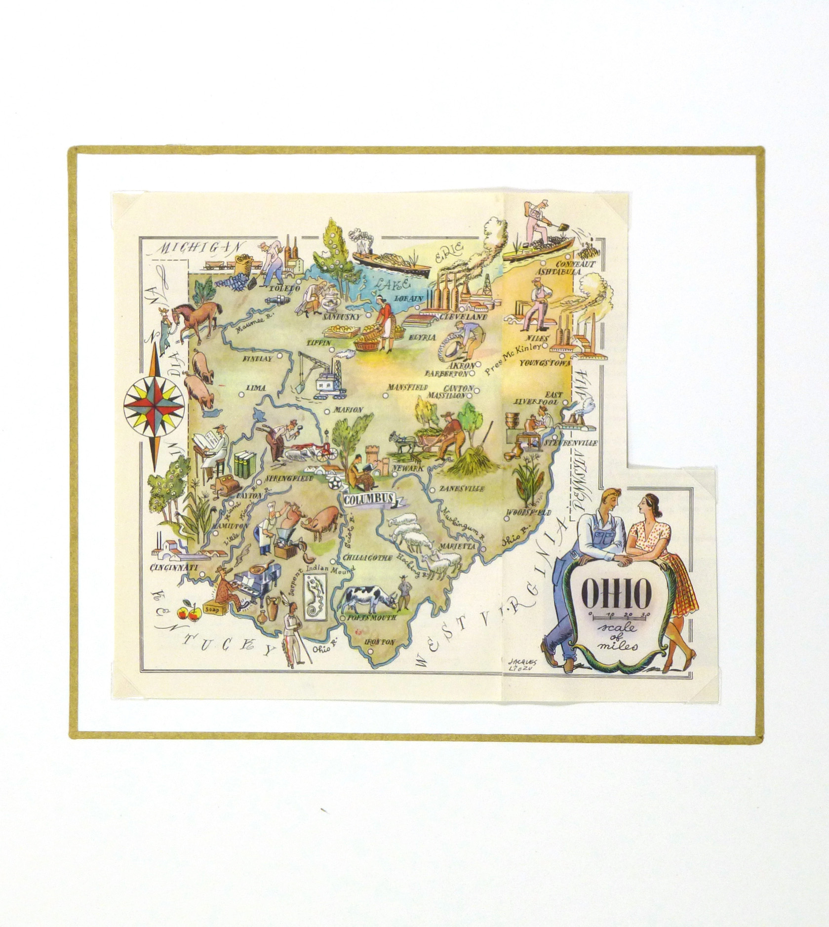 Ohio Pictorial Map, 1946-matted-6280K